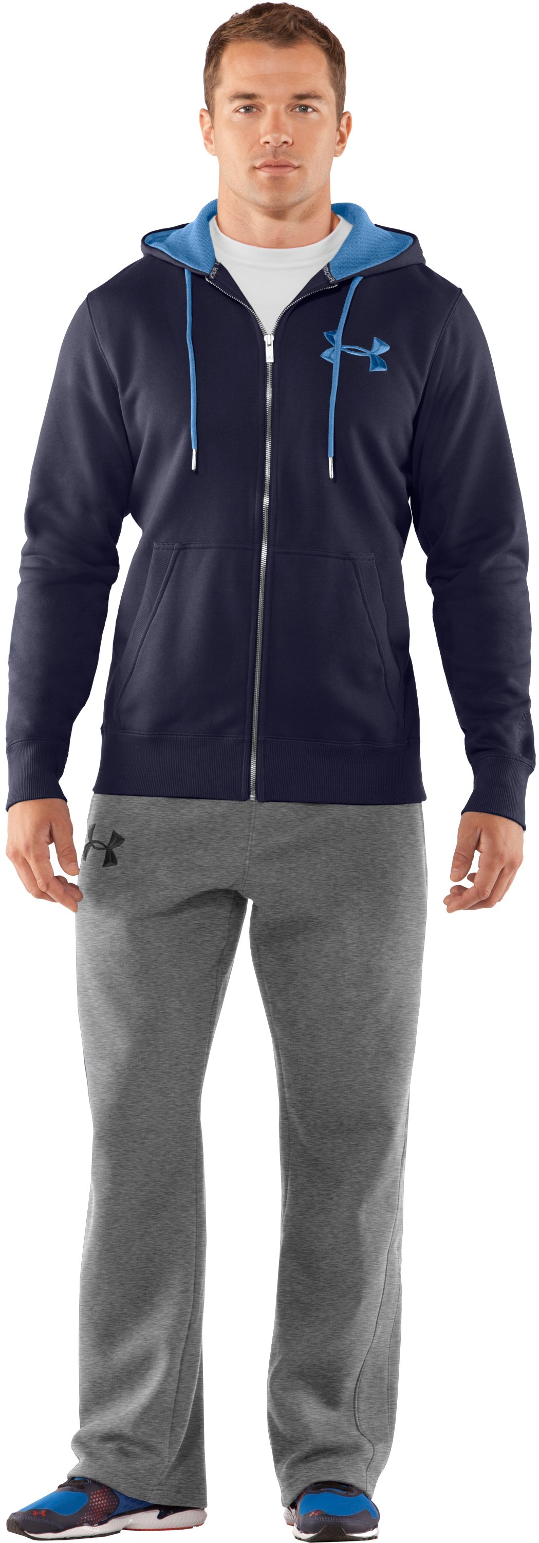 Men's Charged Cotton® Storm Full Zip Hoodie, Midnight Navy, Front