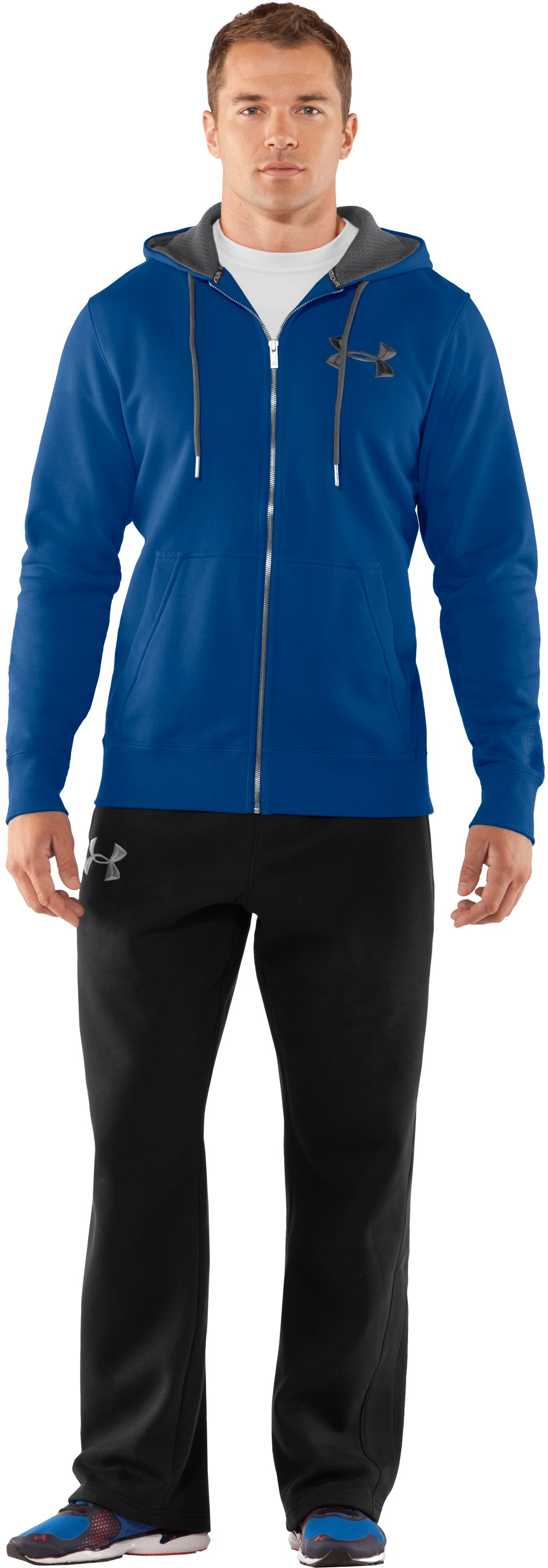 Men's Charged Cotton® Storm Full Zip Hoodie, EMPIRE BLUE, Front