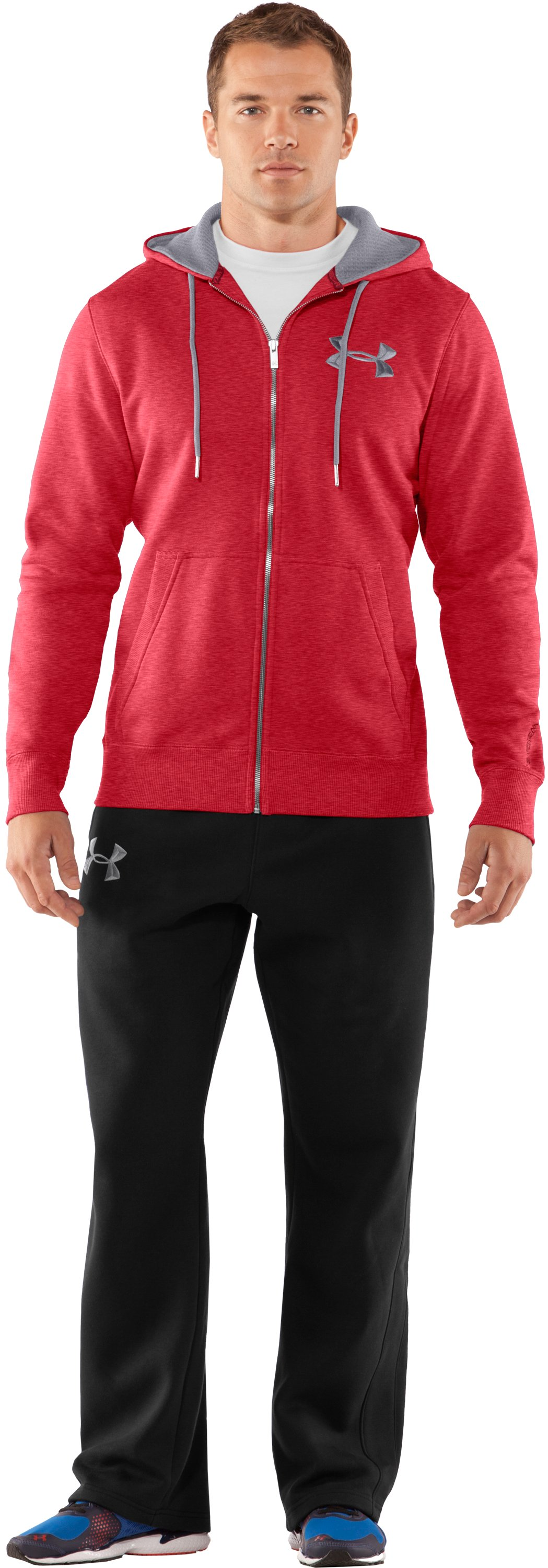 Men's Charged Cotton® Storm Full Zip Hoodie, Red, Front