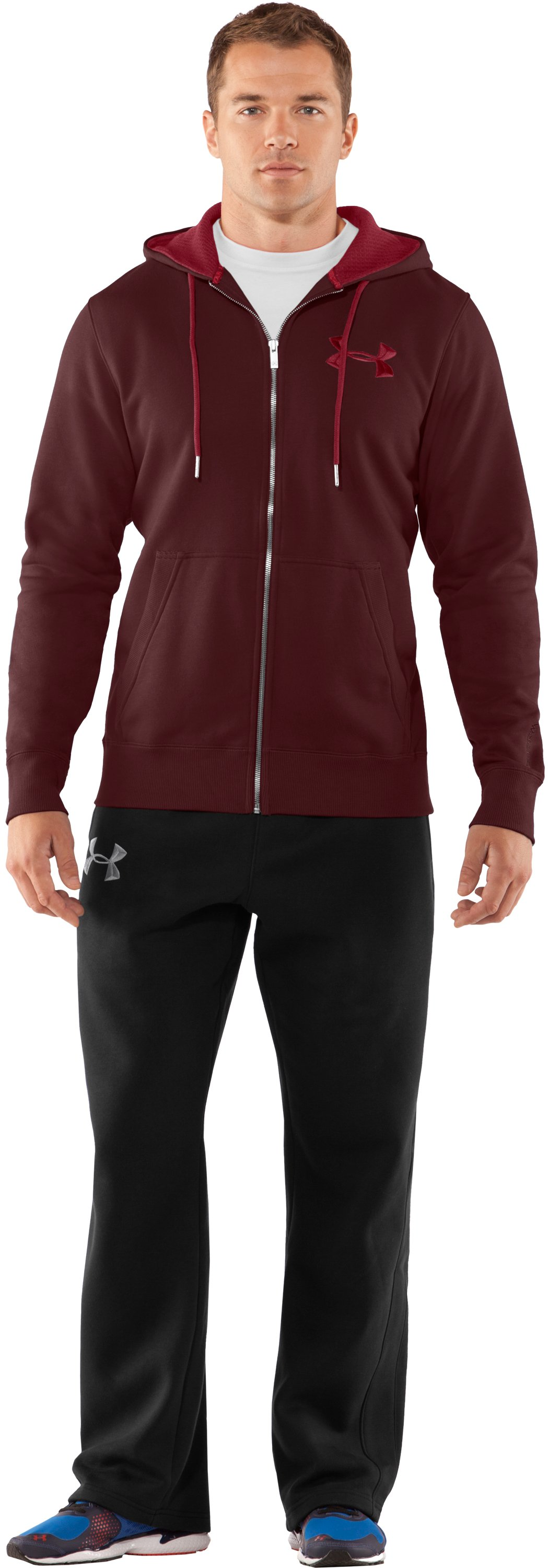 Men's Charged Cotton® Storm Full Zip Hoodie, Ox Blood, Front