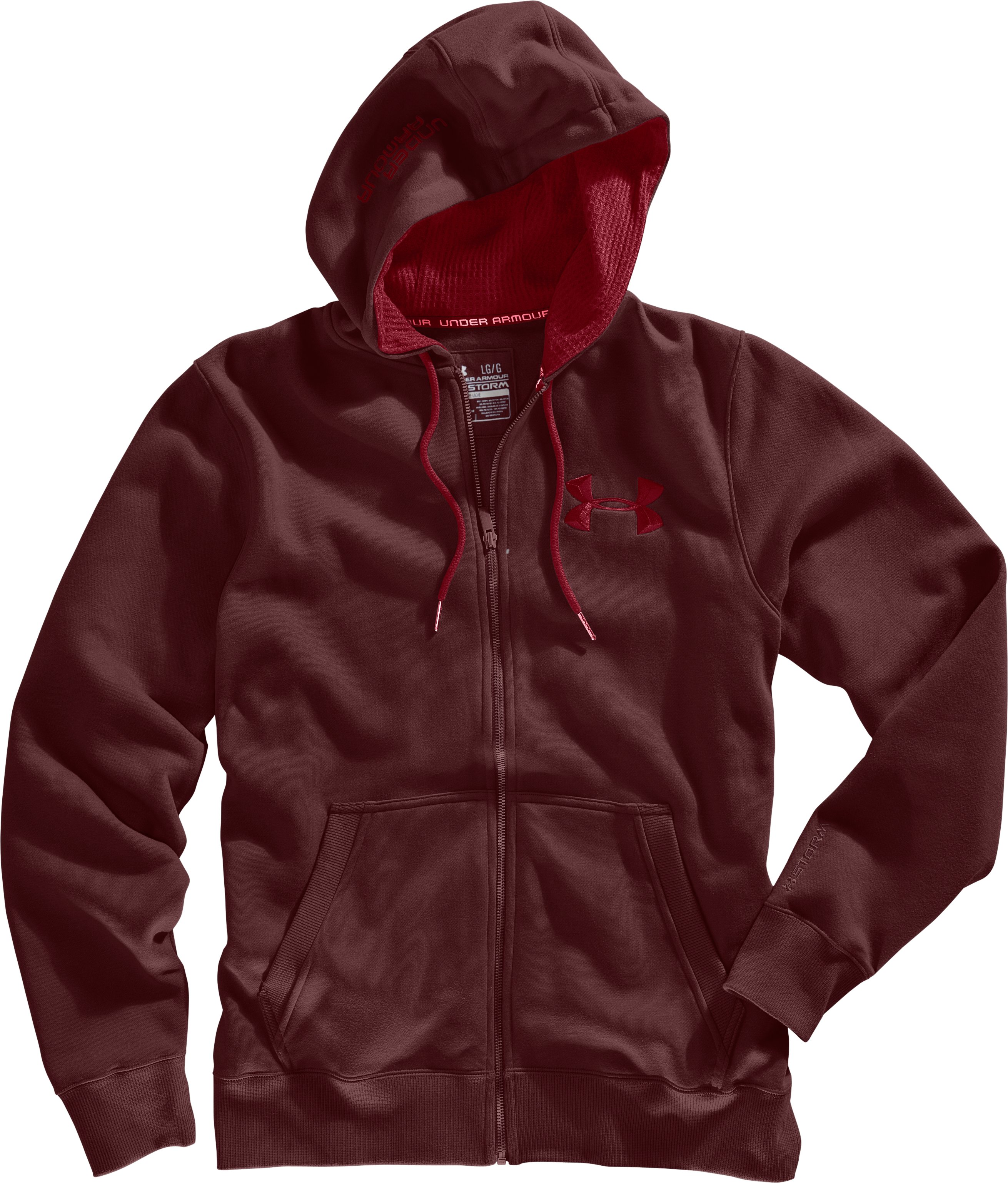 Men's Charged Cotton® Storm Full Zip Hoodie, Ox Blood, Laydown