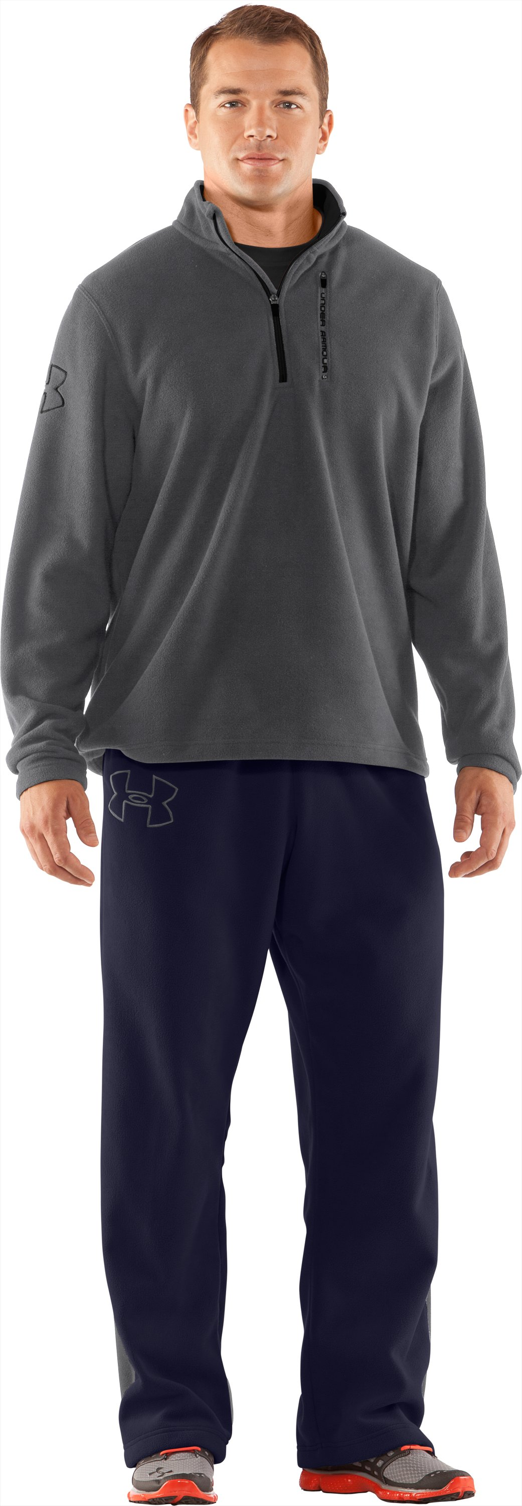 Men's UA Fever ¼ Zip Fleece, Graphite, Front