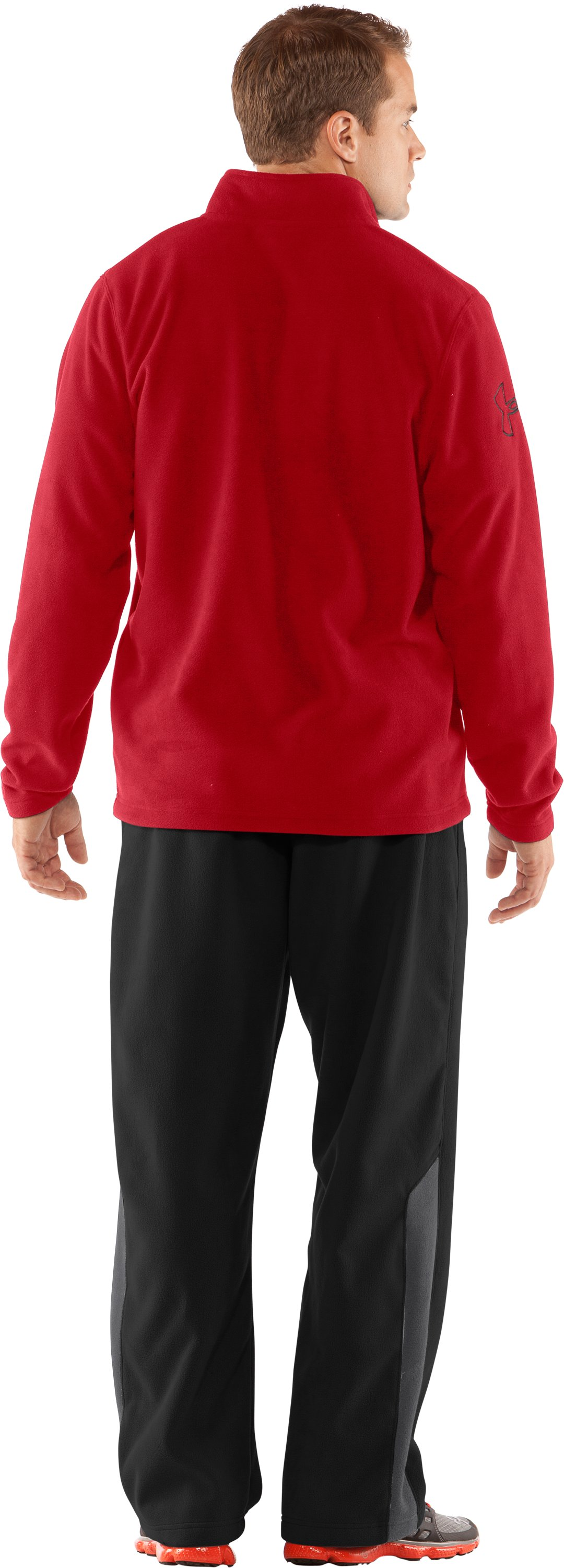Men's UA Fever ¼ Zip Fleece, Red, Back