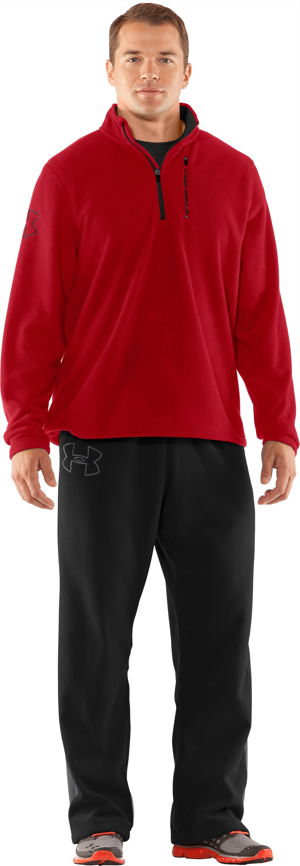 Men's UA Fever ¼ Zip Fleece, Red, Front