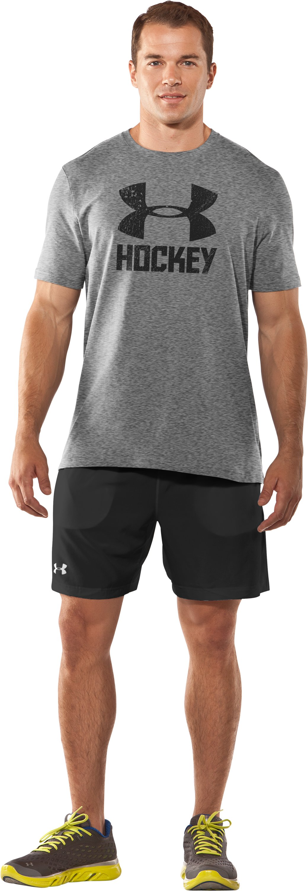 Men's UA Hockey Icon T-Shirt, True Gray Heather, Front