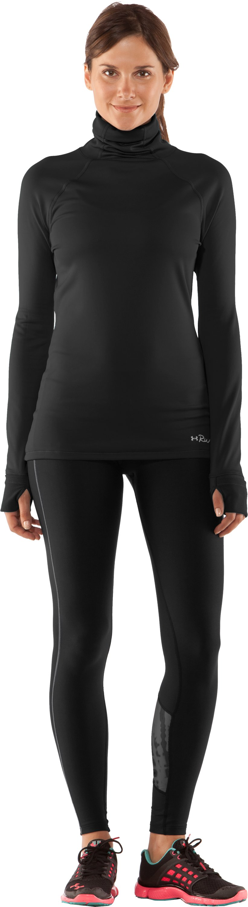 Women's UA Fly By Turtleneck, Black , zoomed image