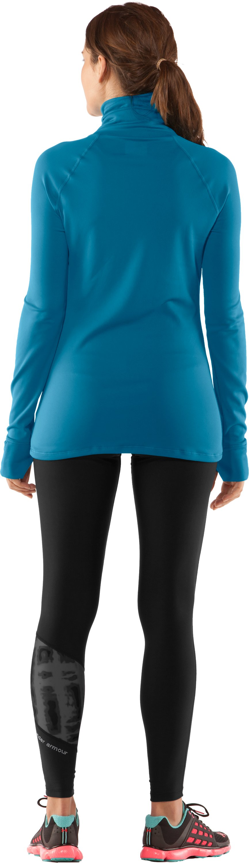Women's UA Fly By Turtleneck, Deceit, Back