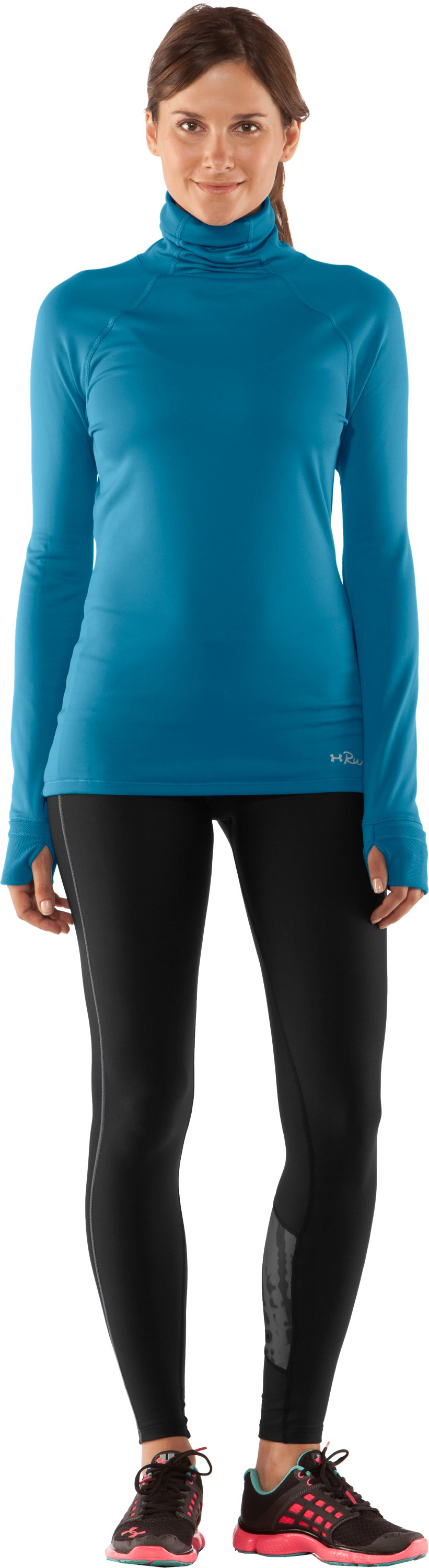 Women's UA Fly By Turtleneck, Deceit, Front
