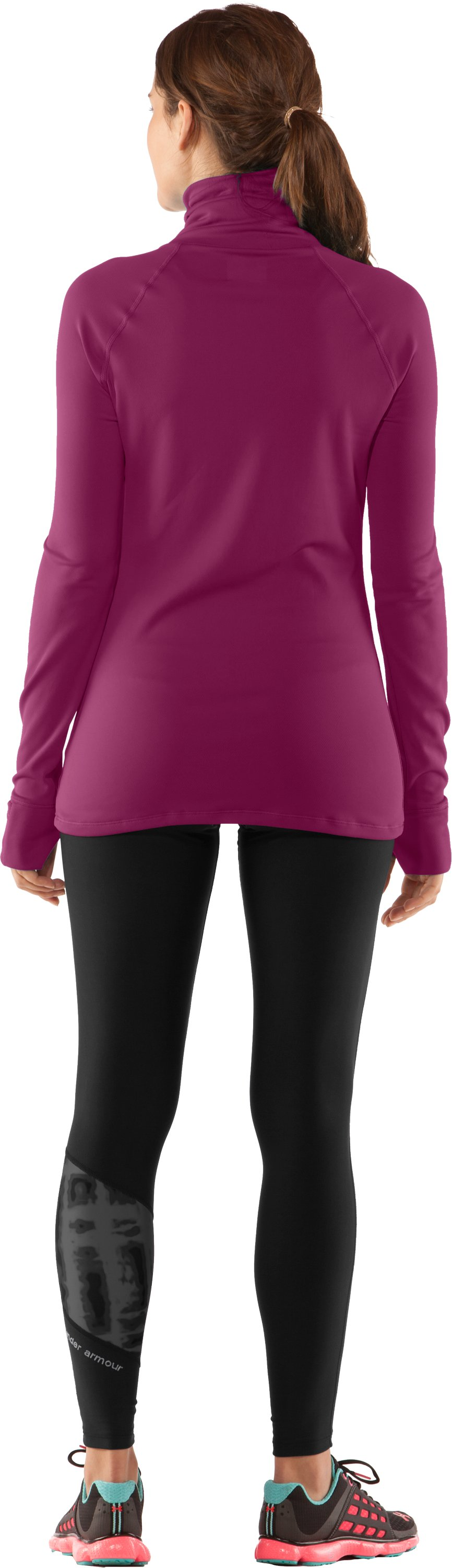 Women's UA Fly By Turtleneck, Rosewood, Back