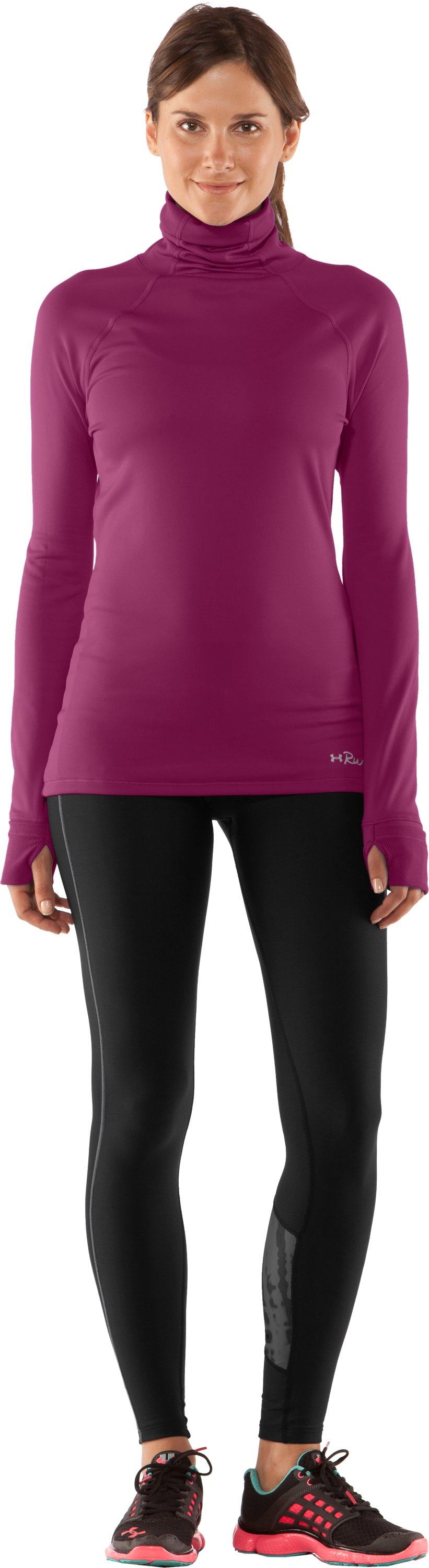 Women's UA Fly By Turtleneck, Rosewood, zoomed image