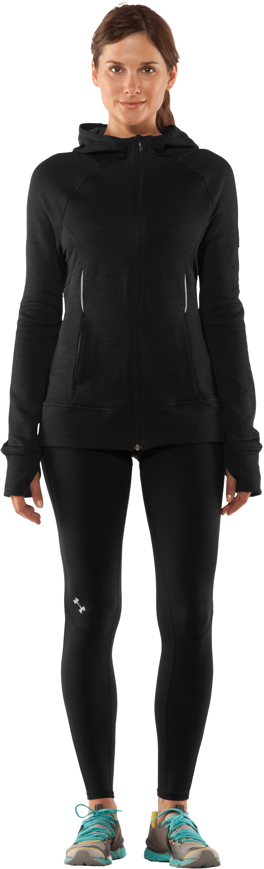 Women's UA Storm Fleece Full Zip, Black , Front