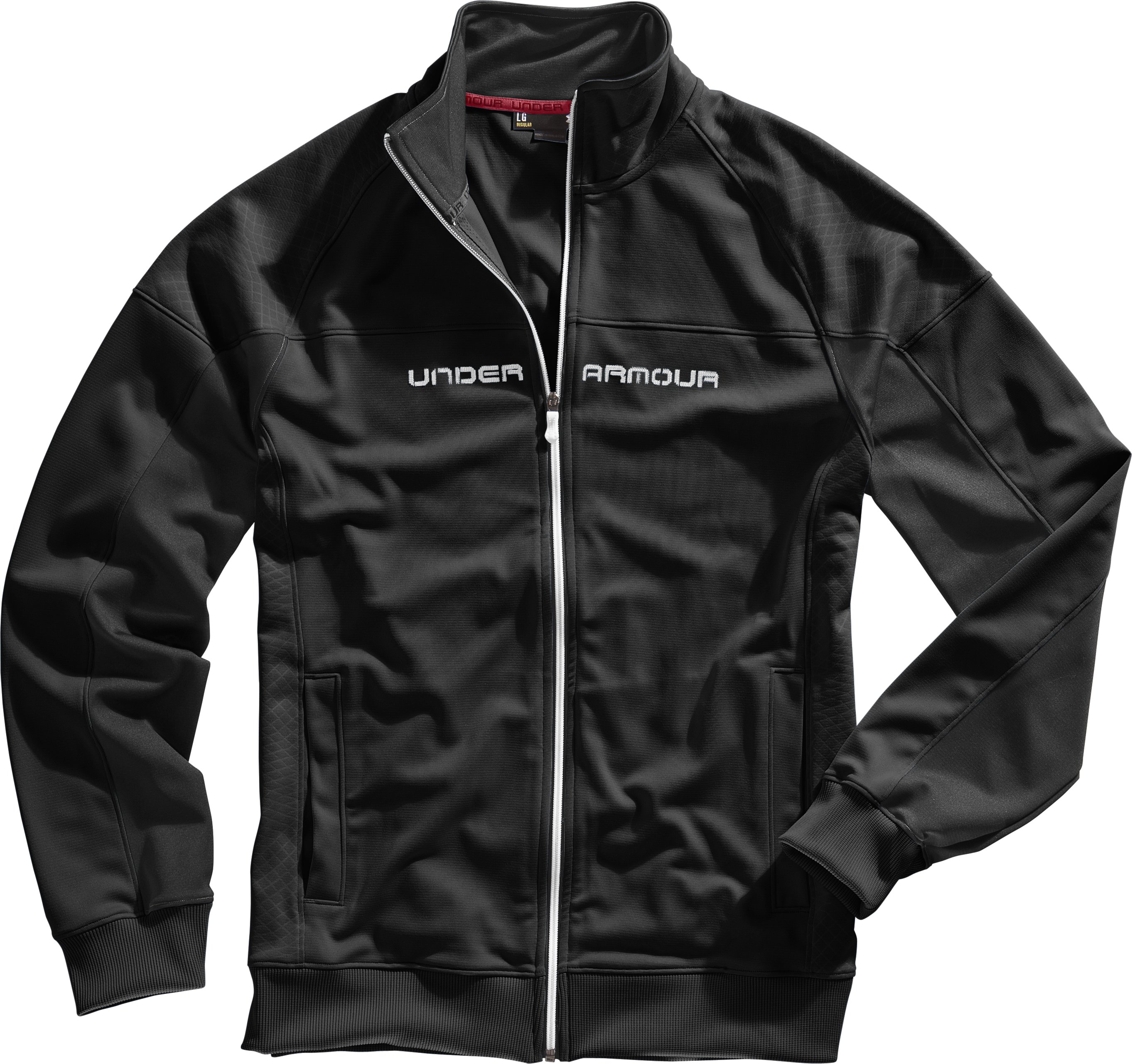 Men's UA Emilystic Track Jacket, Black , Laydown