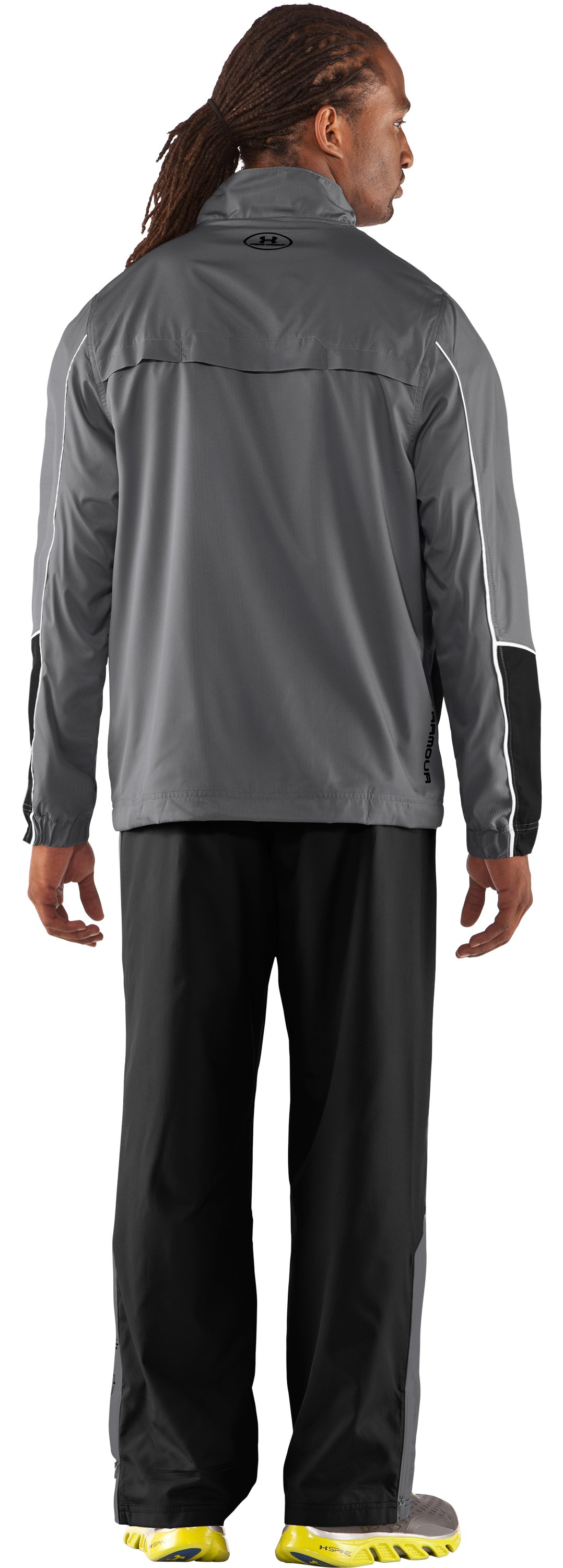 Men's UA Bandito Woven Warm-Up Jacket, Graphite, Back