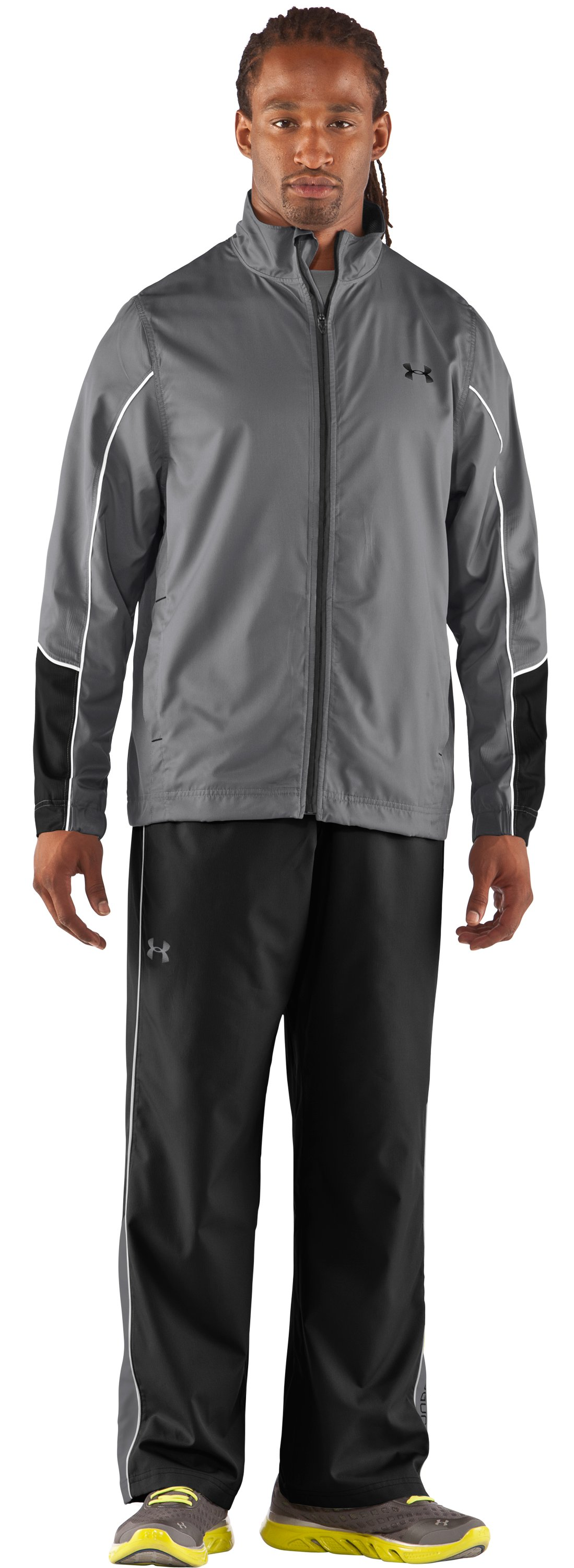 Men's UA Bandito Woven Warm-Up Jacket, Graphite, Front