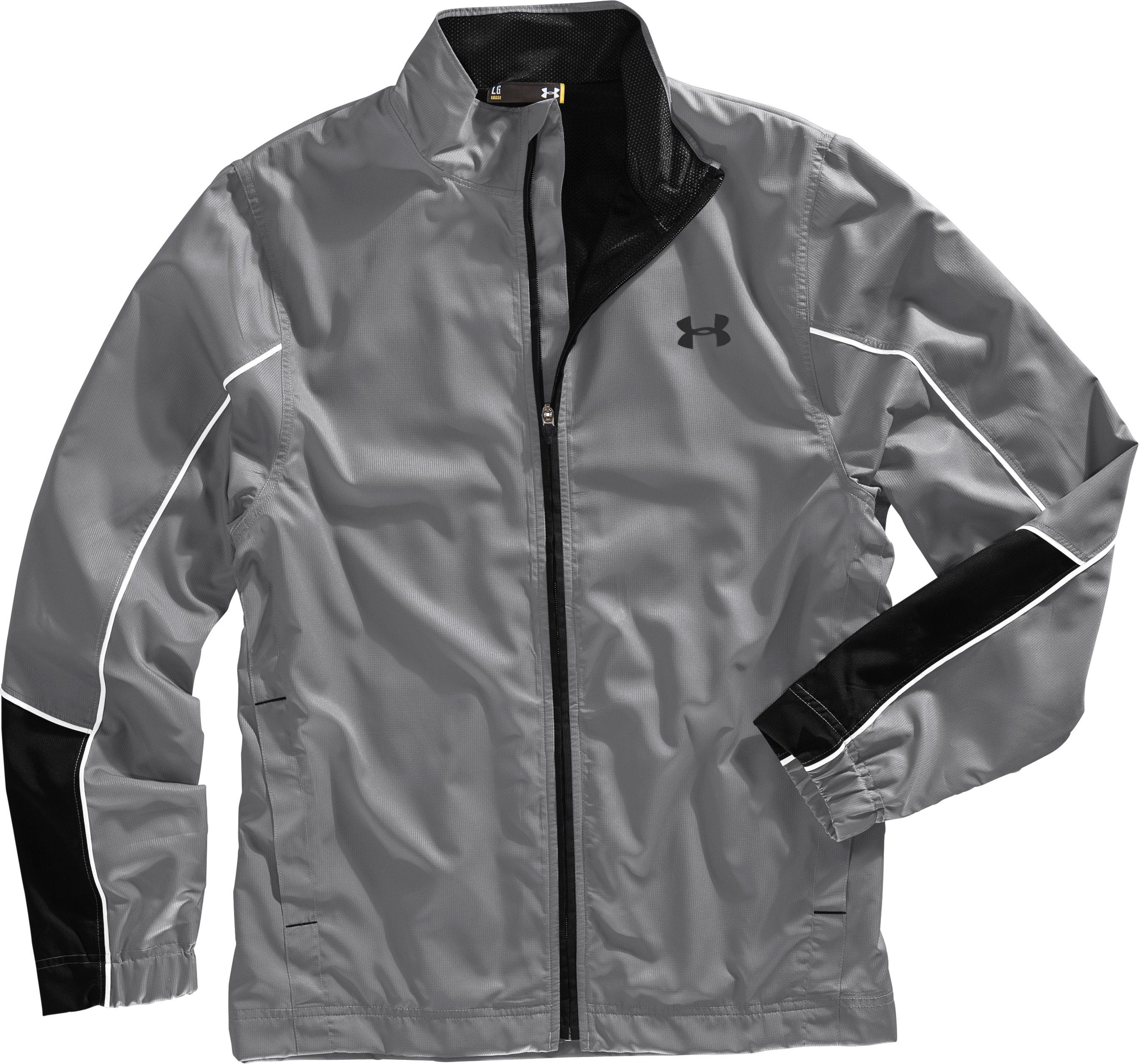 Men's UA Bandito Woven Warm-Up Jacket, Graphite, Laydown
