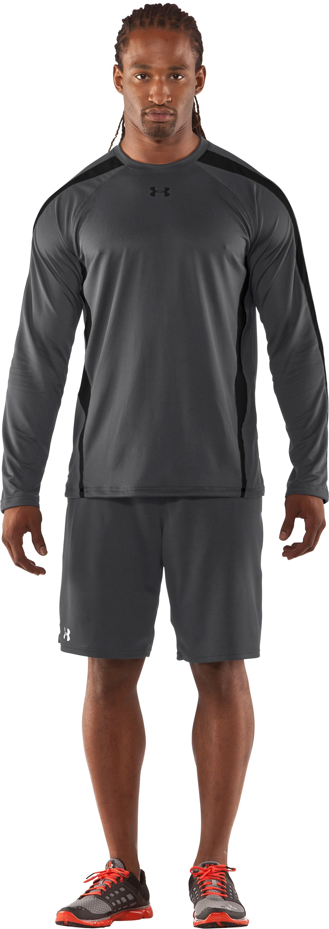 Men's UA Zone IV Long Sleeve T-Shirt, Graphite, Front