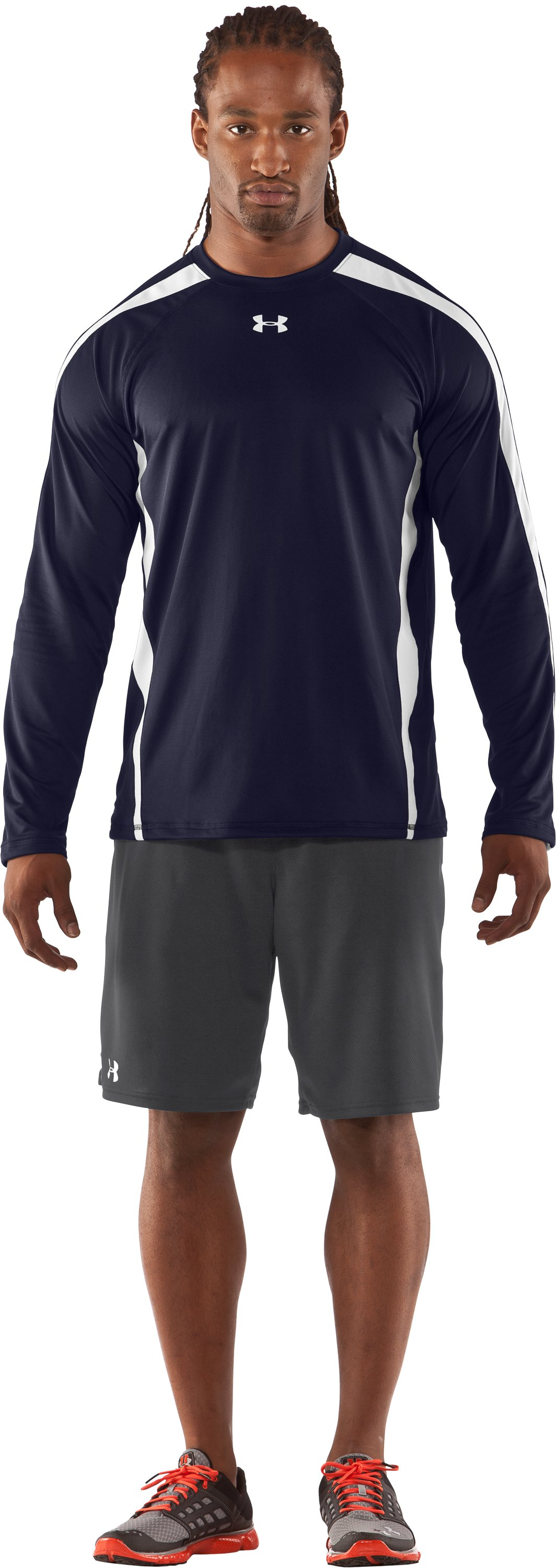 Men's UA Zone IV Long Sleeve T-Shirt, Midnight Navy, Front