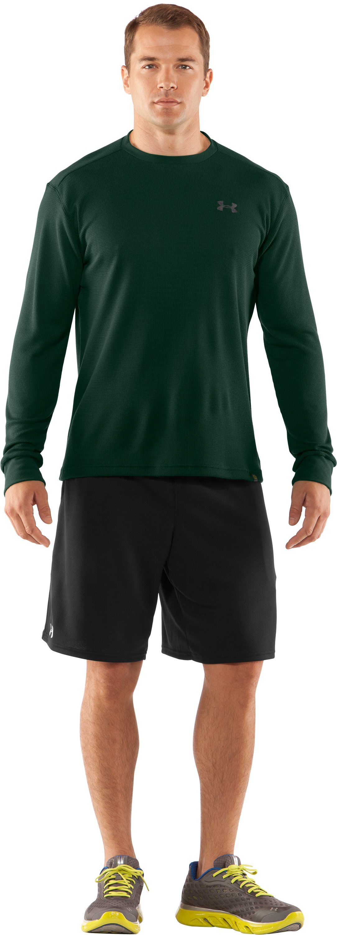 Men's UA Waffle Crew Shirt, Artillery Green, zoomed image