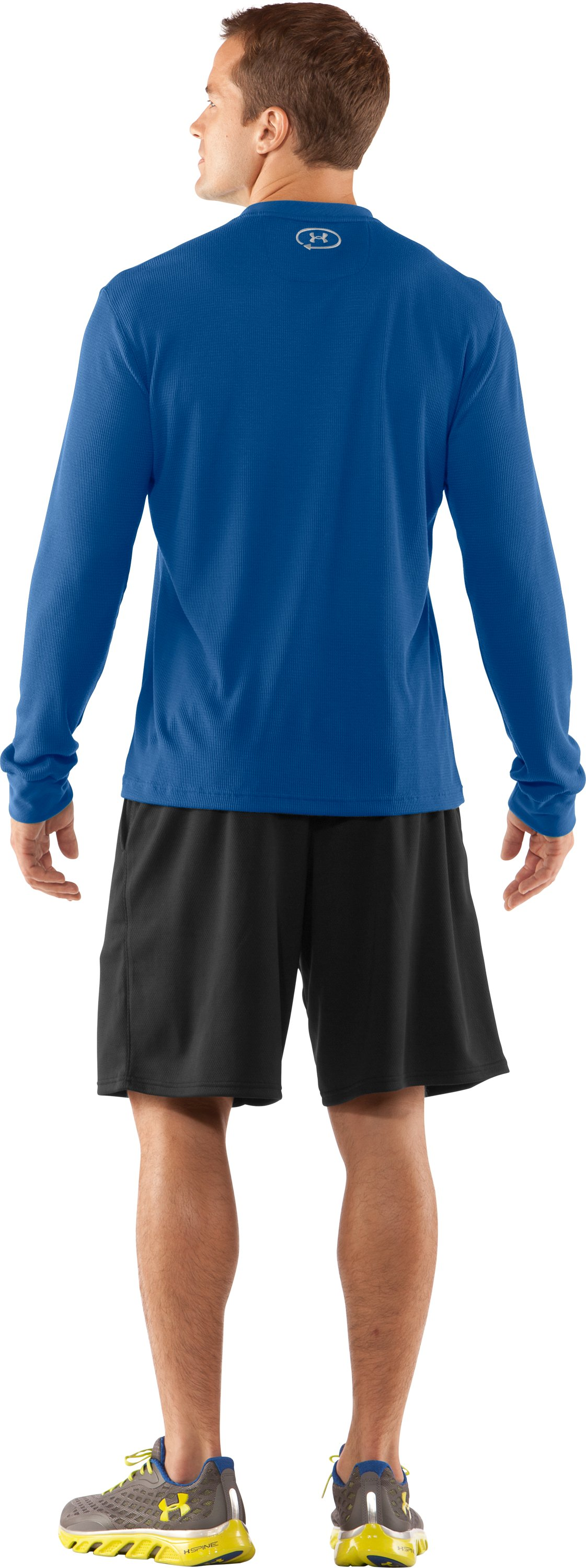 Men's UA Waffle Crew Shirt, EMPIRE BLUE, Back