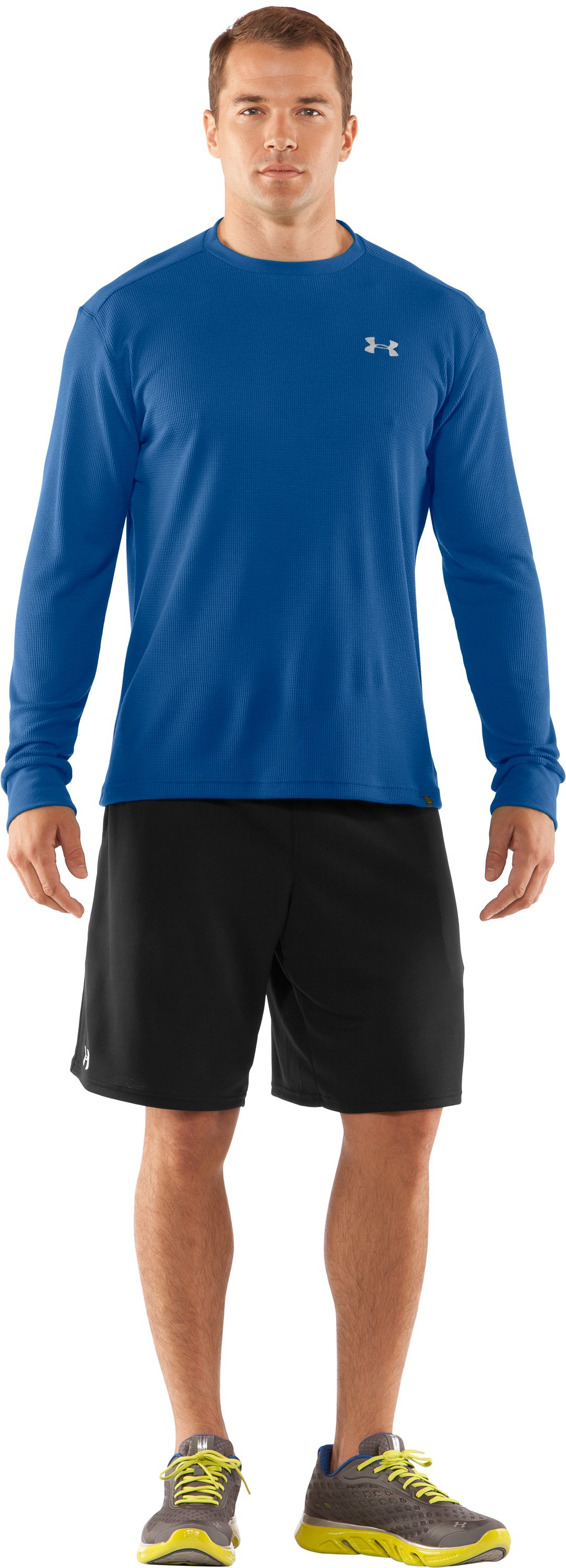 Men's UA Waffle Crew Shirt, EMPIRE BLUE, Front