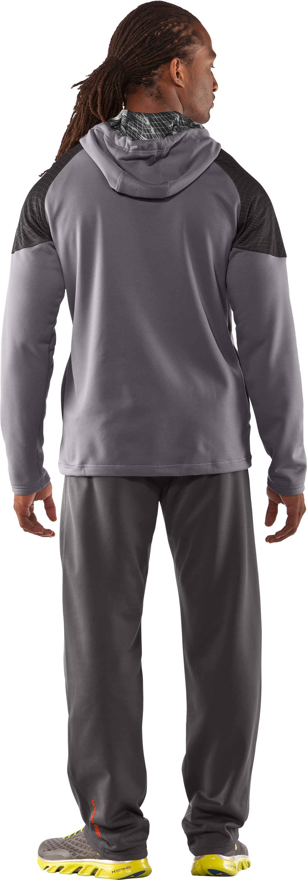 Men's UA Combine® Training Fleece Pullover Hoodie, Concrete, Back