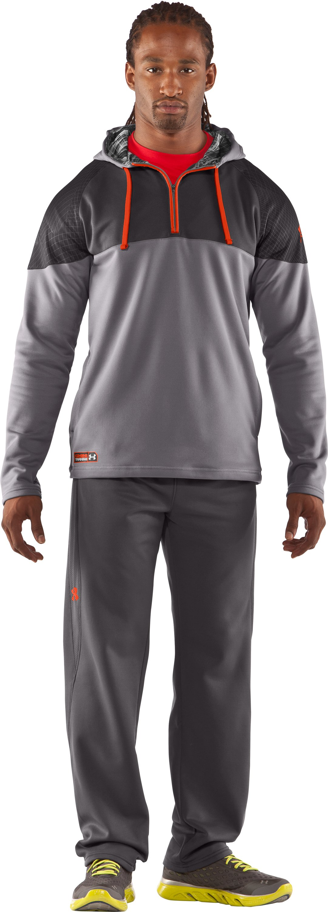 Men's UA Combine® Training Fleece Pullover Hoodie, Concrete, zoomed image