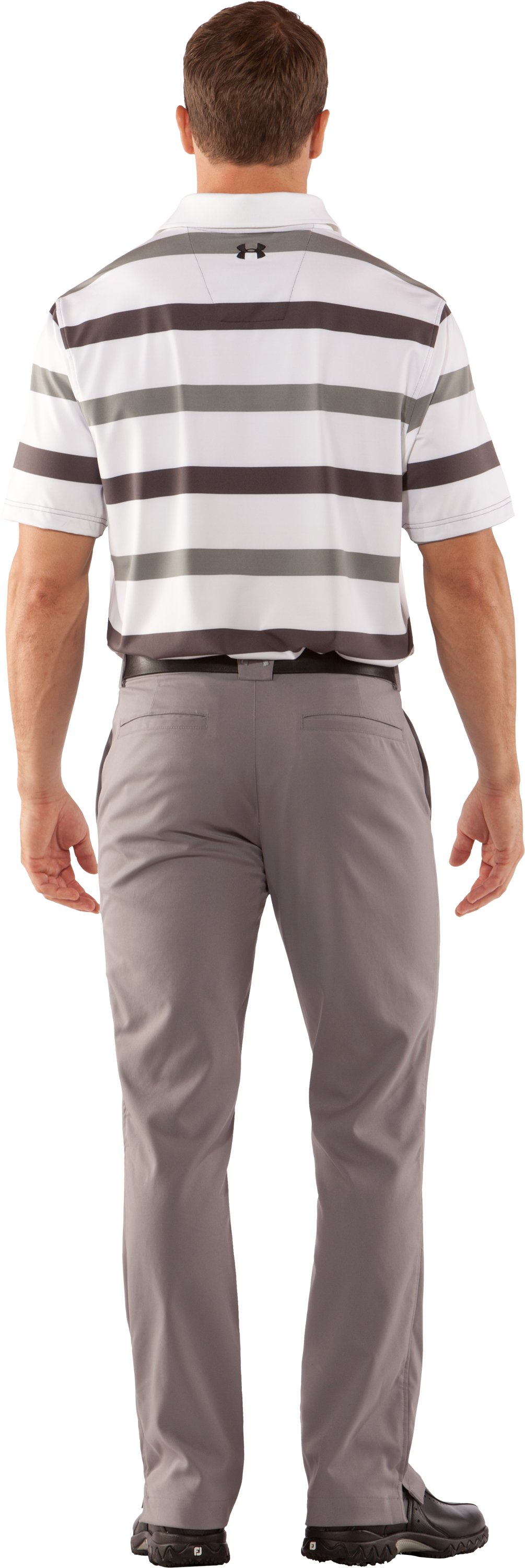 Men's UA Performance Bold Stripe Polo, Charcoal, Back