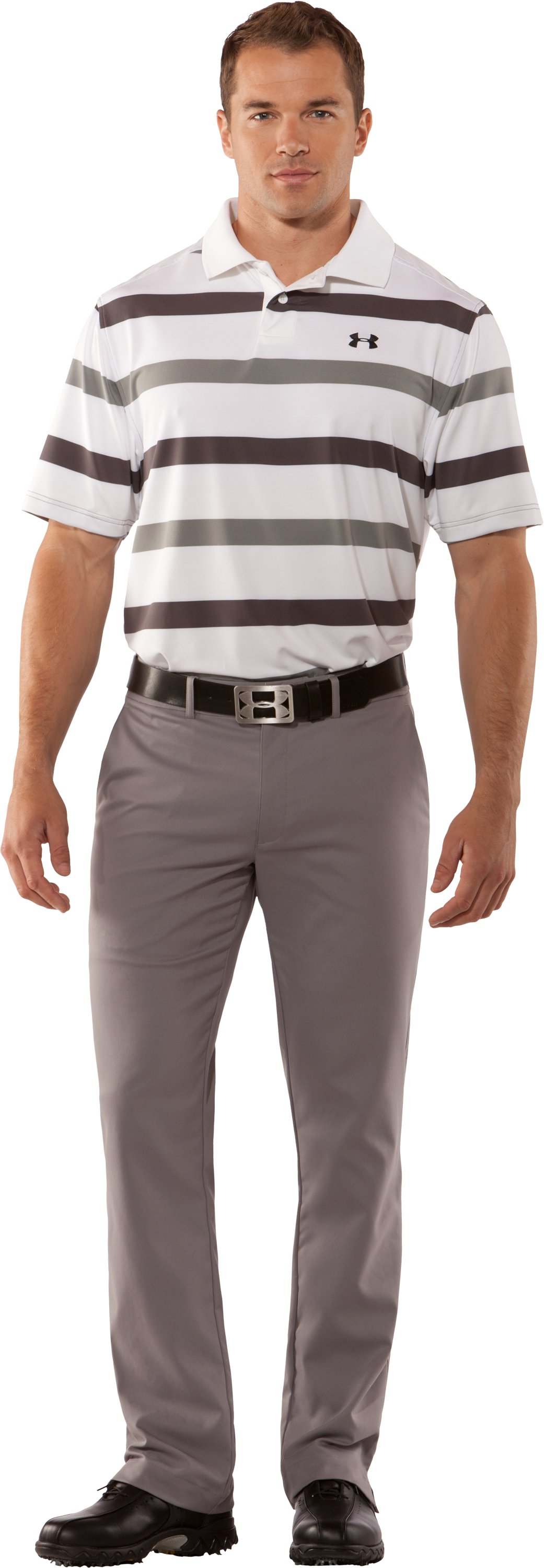 Men's UA Performance Bold Stripe Polo, Charcoal, zoomed image
