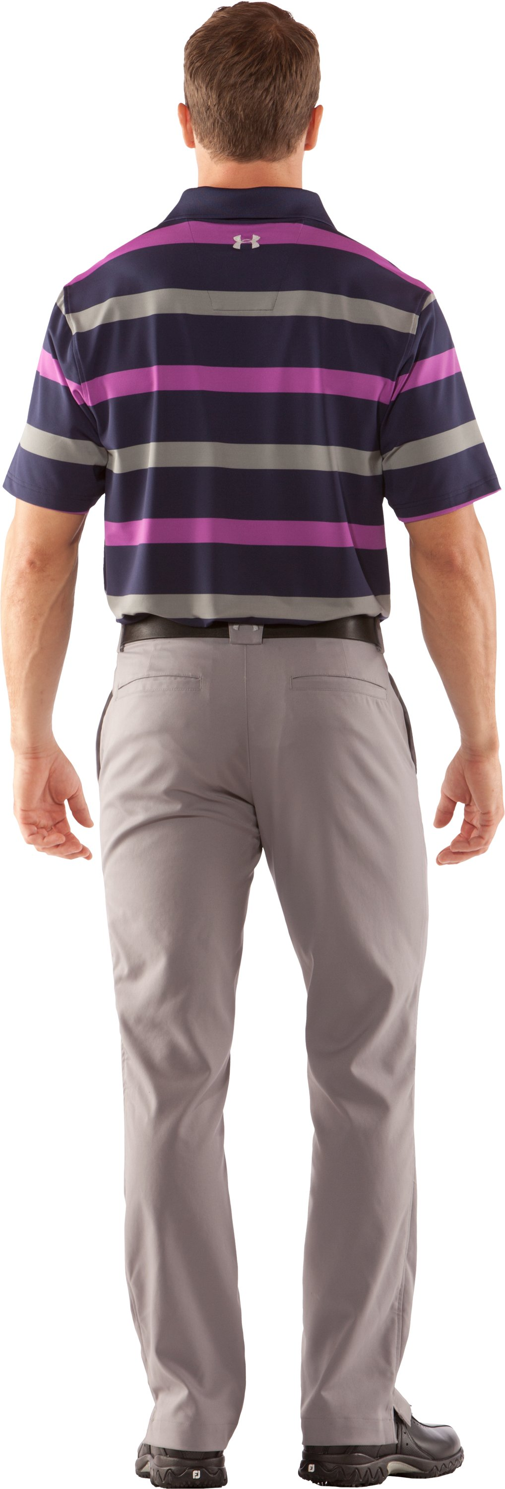 Men's UA Performance Bold Stripe Polo, Concrete, Back