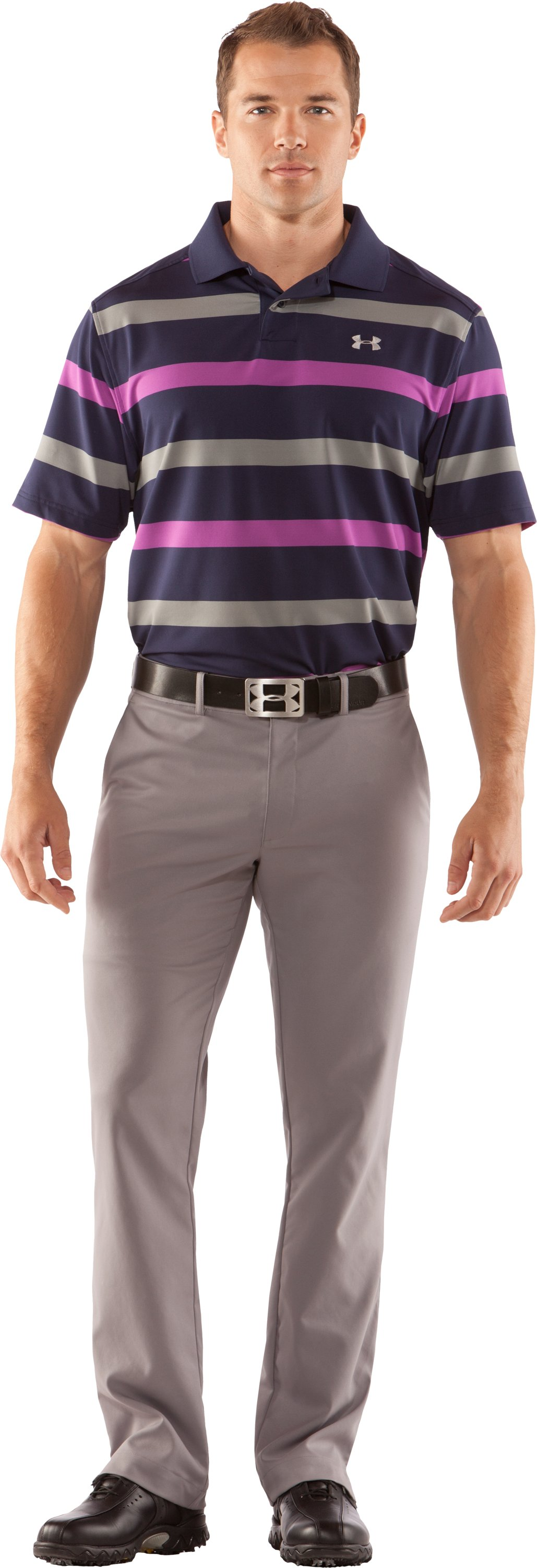Men's UA Performance Bold Stripe Polo, Concrete, Front