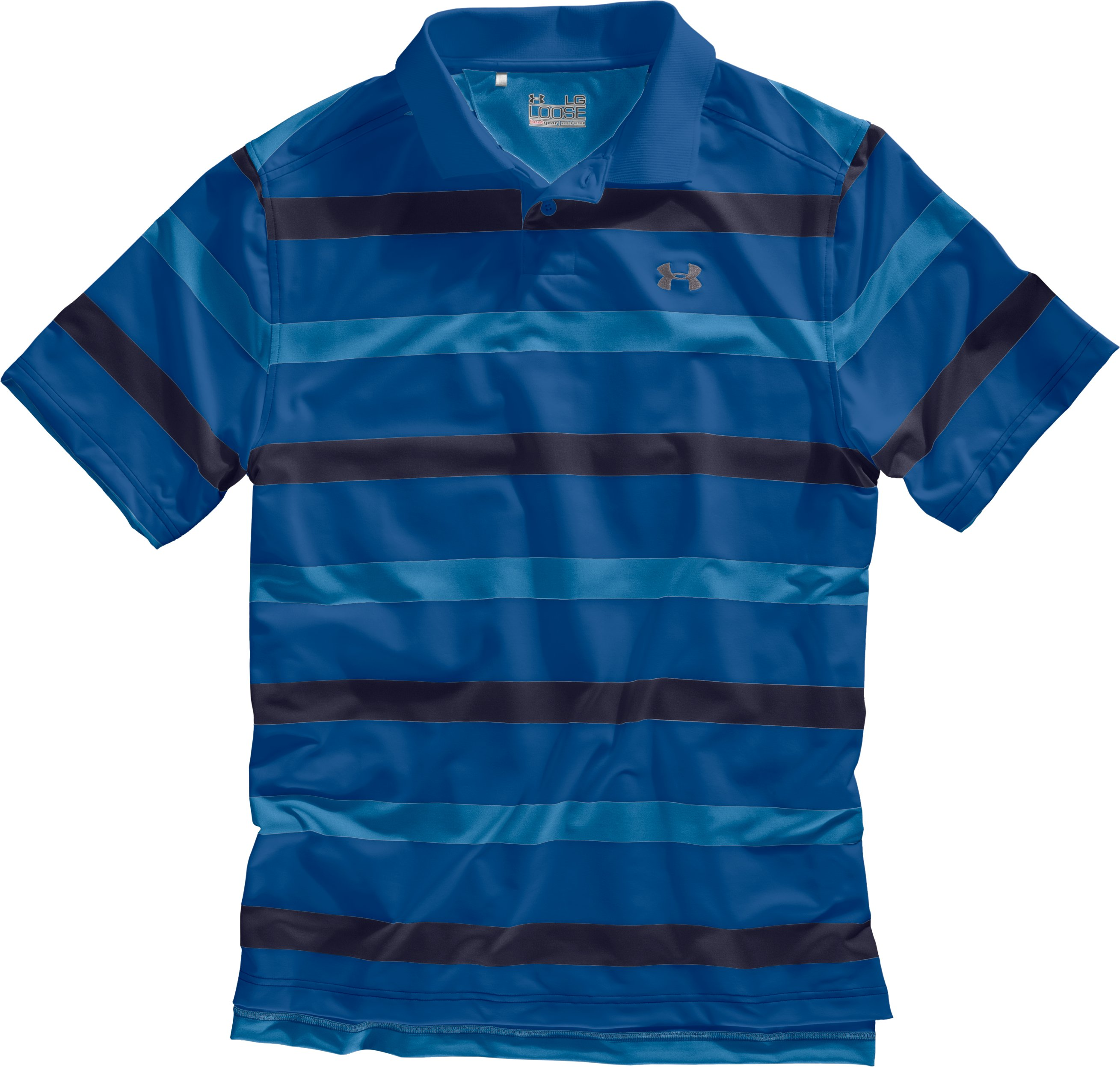 Men's UA Performance Bold Stripe Polo, Midnight Navy, Laydown