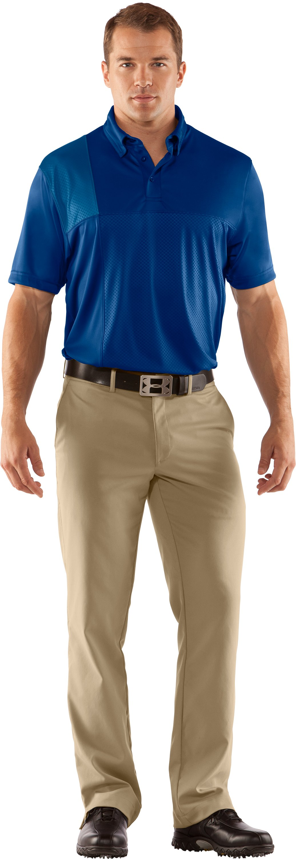 Men's UA Performance Embossed CB Polo, EMPIRE BLUE, zoomed image