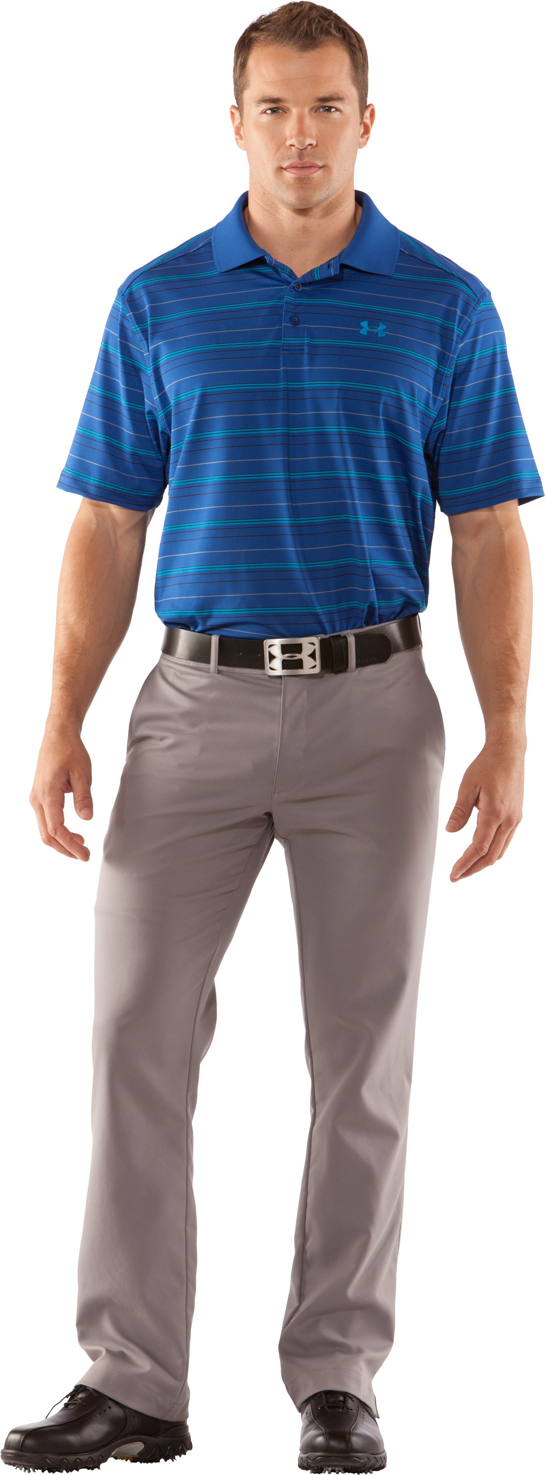 Men's UA Performance Stripe Polo, EMPIRE BLUE, zoomed image