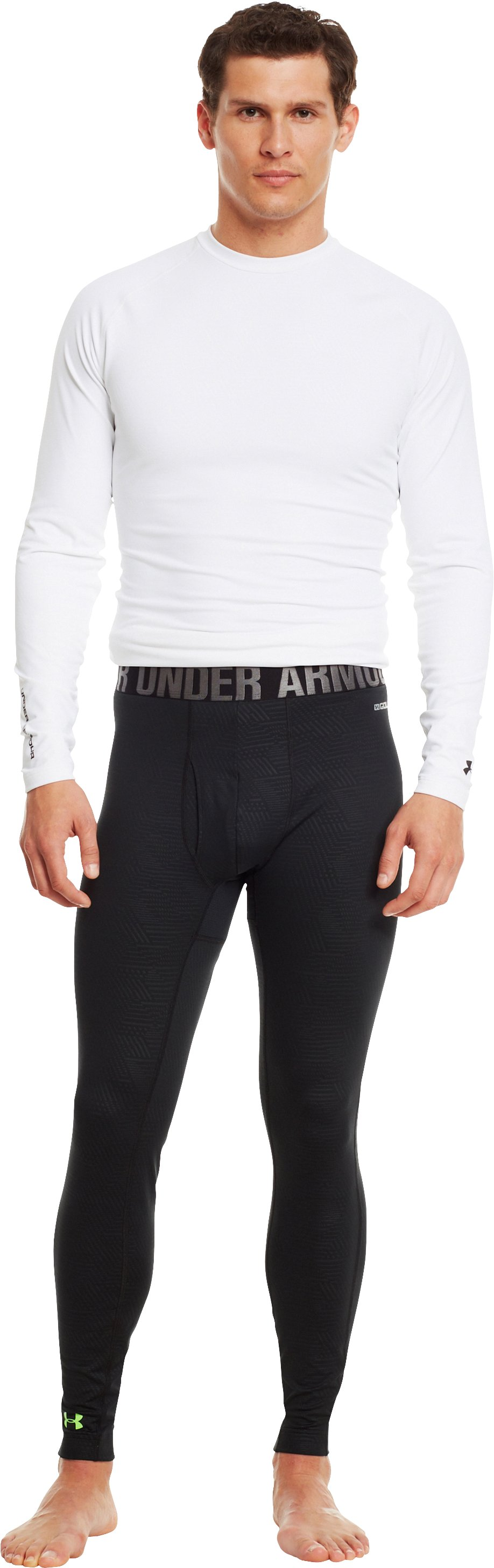 Men's UA Golf ColdGear® Leggings, Black , zoomed image