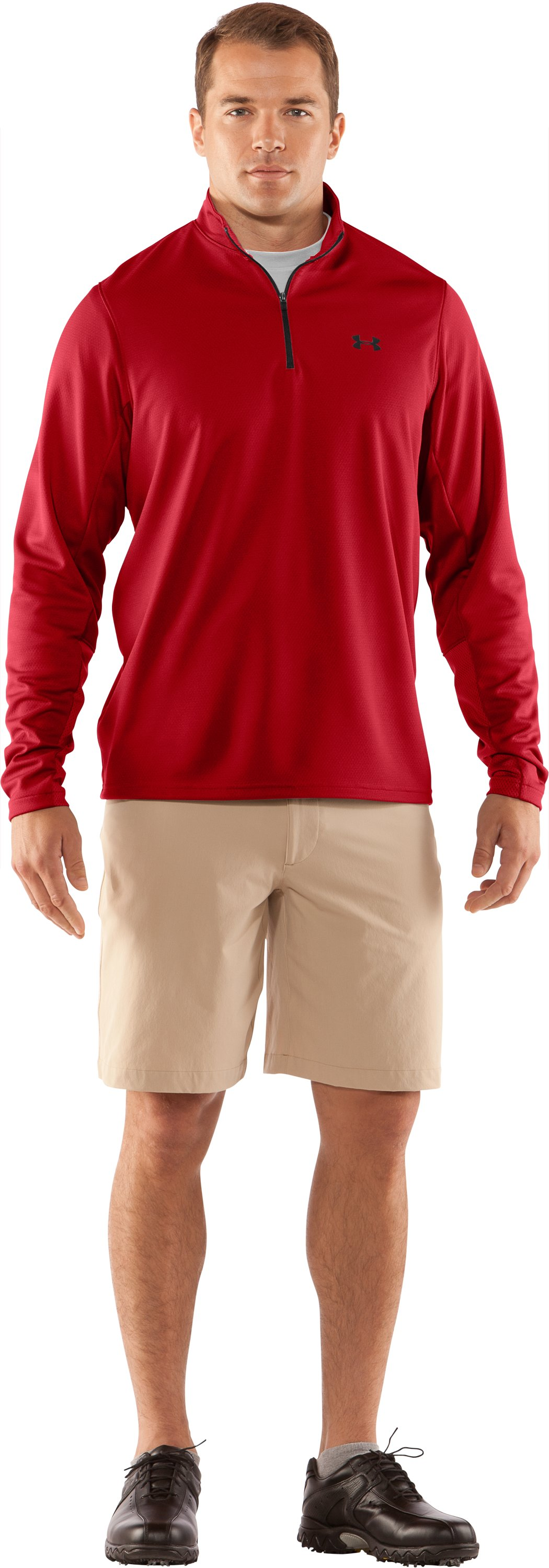 Men's AllSeasonGear® ¼ Zip Golf Jacket, Red, Front