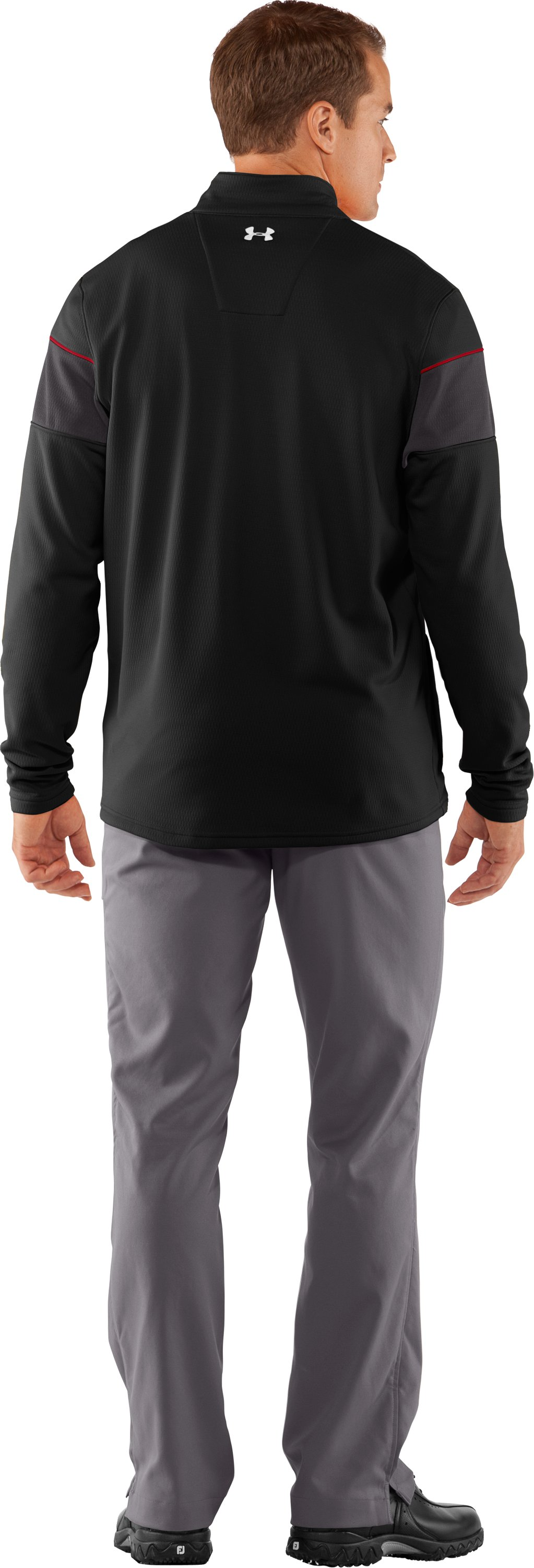 Men's UA Focus 4.0 Mid ¼ Zip Jacket, Black , Back