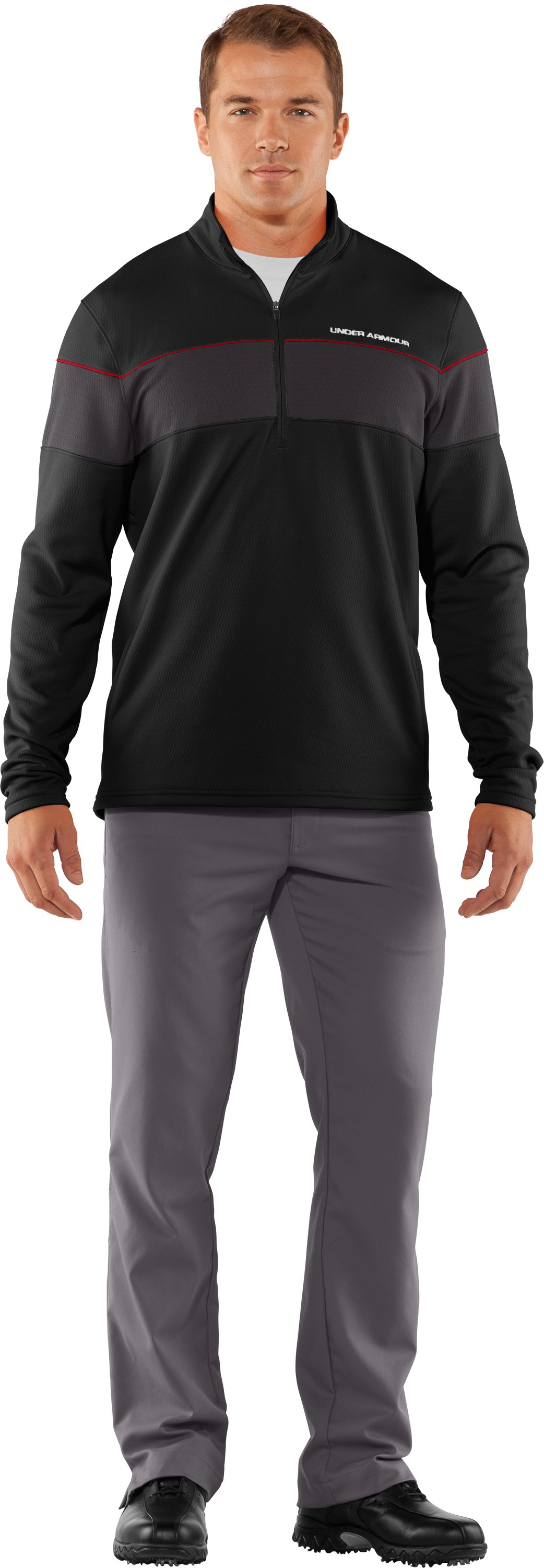 Men's UA Focus 4.0 Mid ¼ Zip Jacket, Black , zoomed image