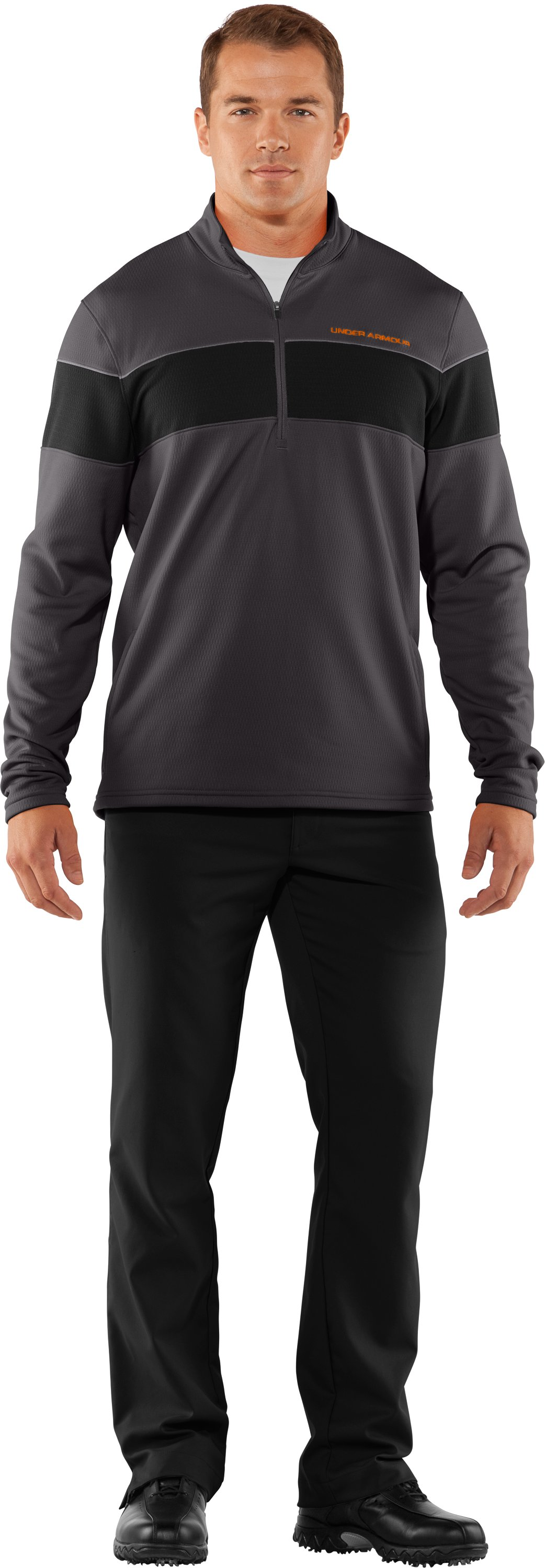 Men's UA Focus 4.0 Mid ¼ Zip Jacket, Charcoal, Front