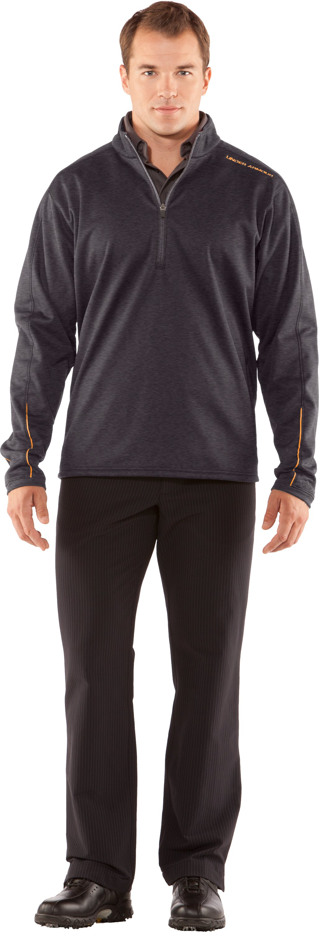 Men's ColdGear® Elements Storm ¼ Zip Jacket, Carbon Heather, Front