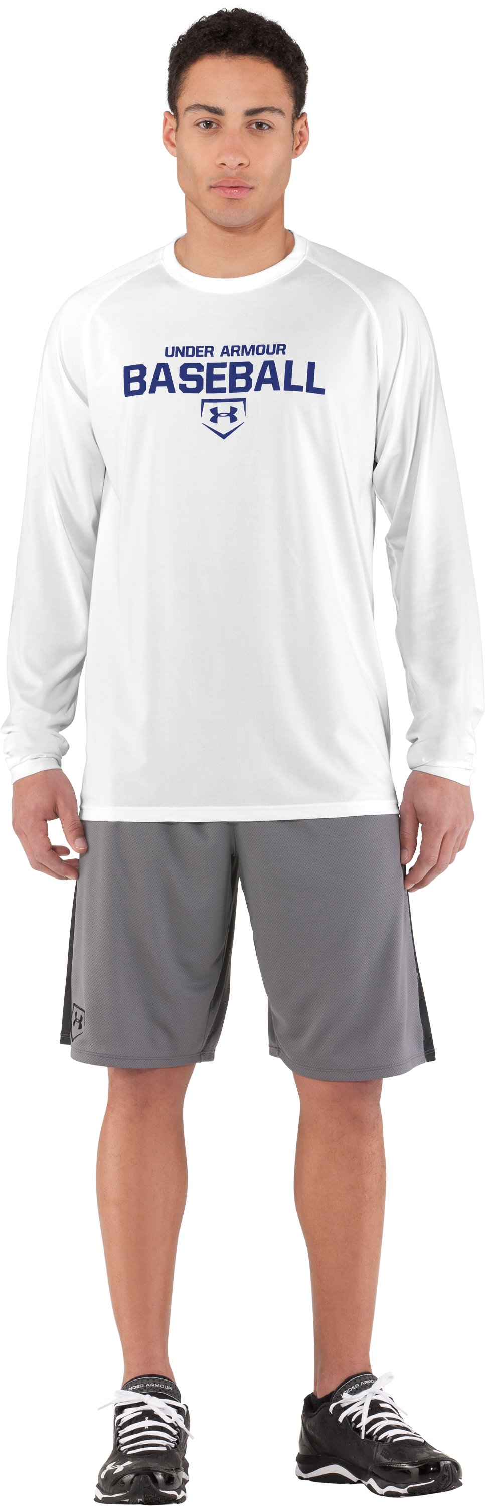 Men's UA Baseball Classic Long Sleeve T-Shirt, White, Front
