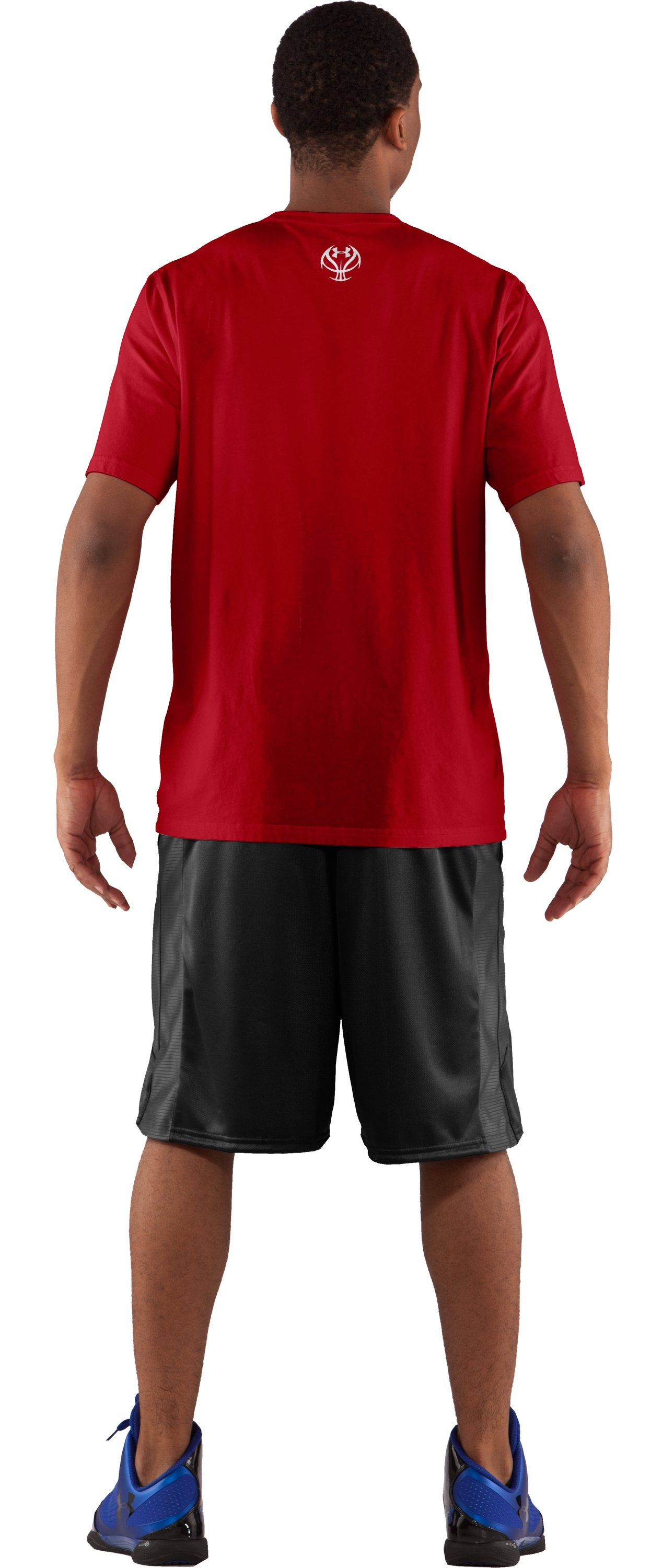 Men's UA Basketball Pregame Graphic T-Shirt, Red, Back