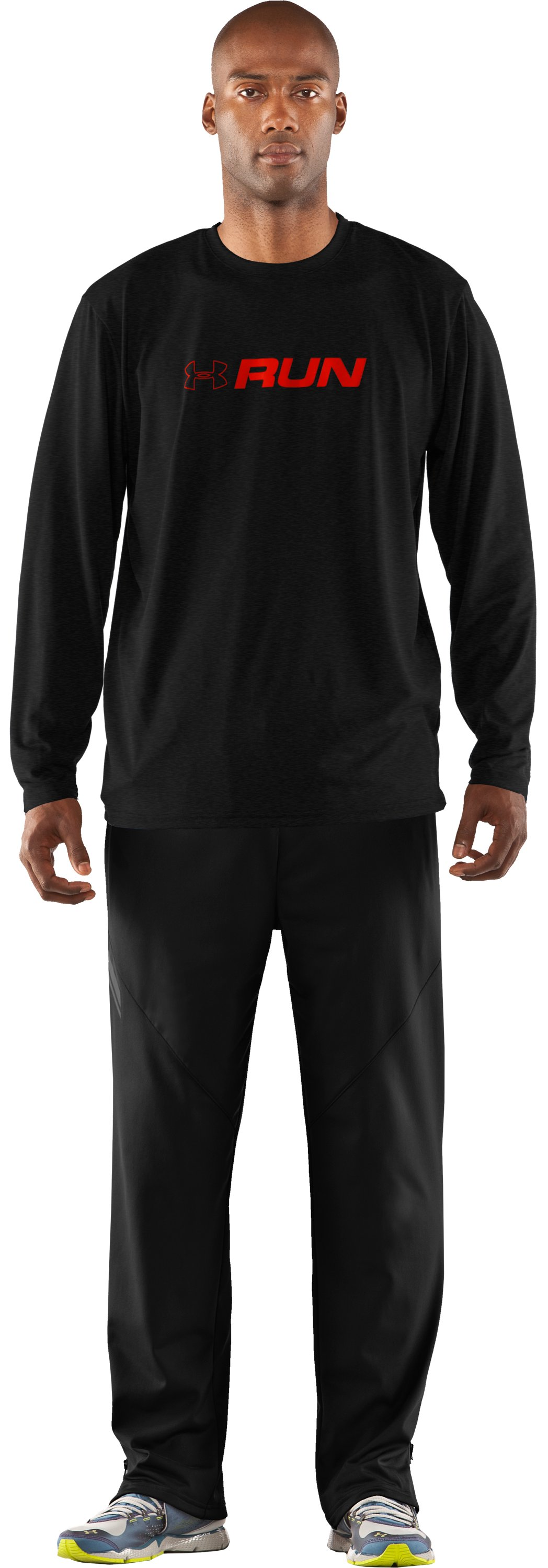 Men's UA Run Long Sleeve Graphic T-Shirt, Asphalt Heather, Front