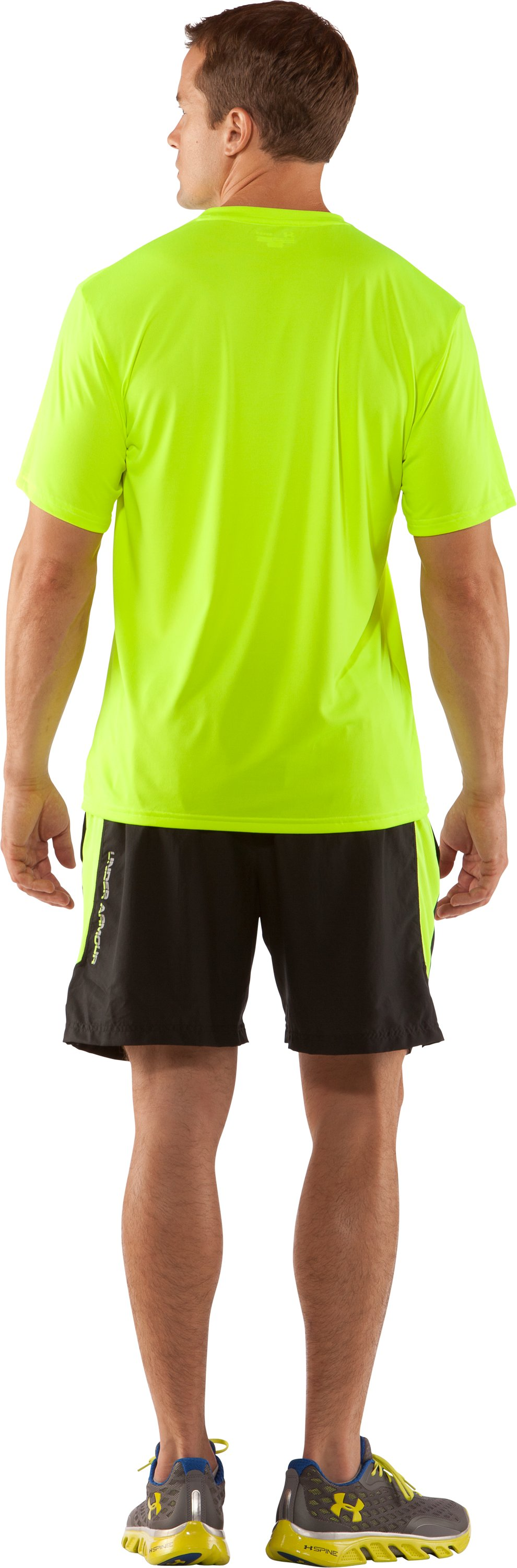 Men's UA Tough Run Graphic T-Shirt, High-Vis Yellow, Back