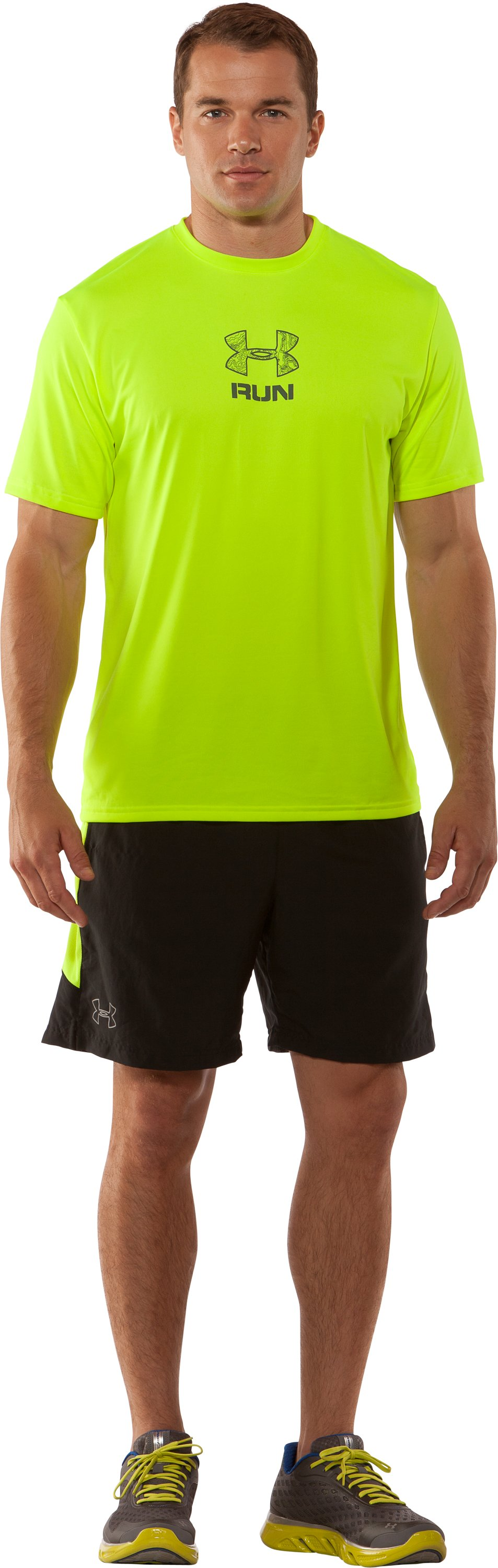 Men's UA Tough Run Graphic T-Shirt, High-Vis Yellow, Front