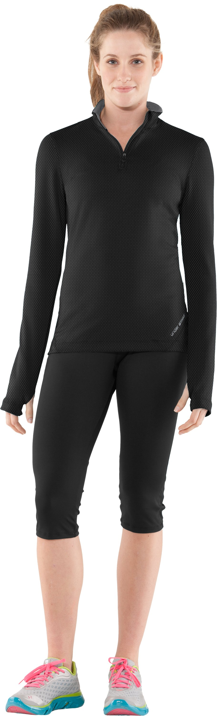 Women's ColdGear® Thermo ¼ Zip, Black , Front