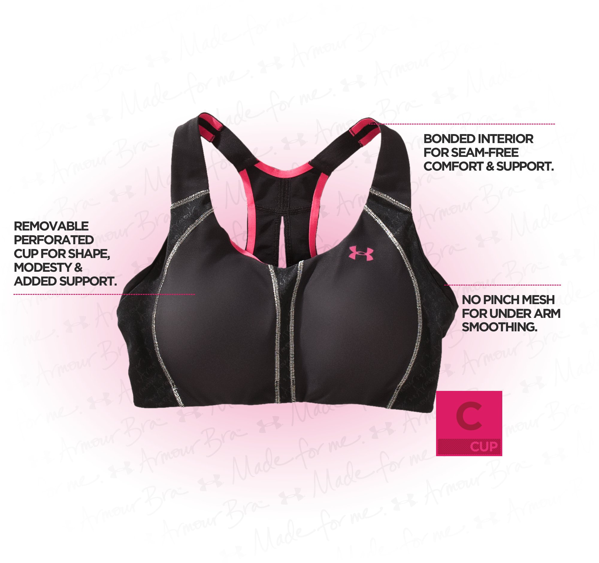 Women's Armour Bra® C Cup, Black , undefined