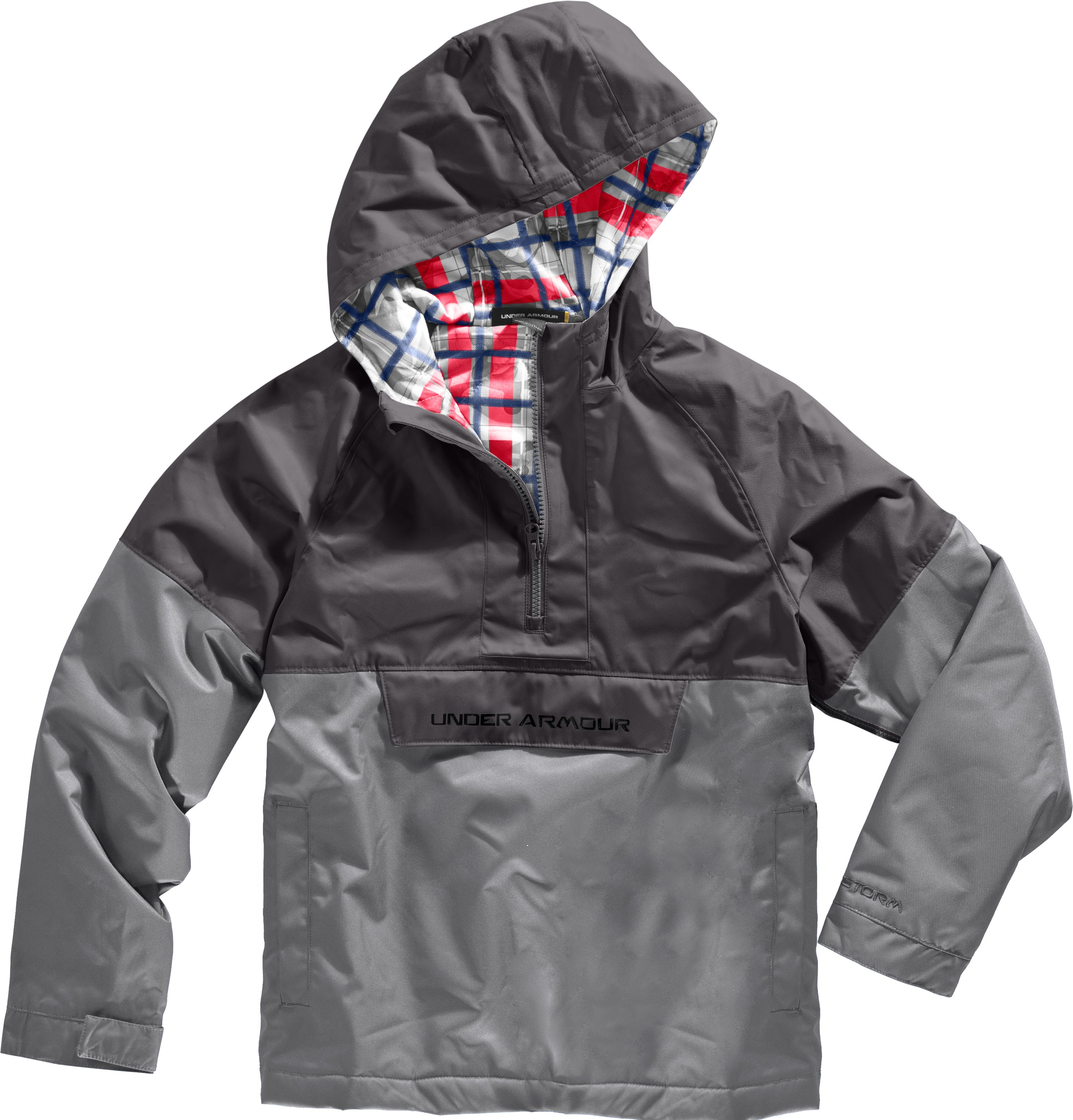 Boys' UA Reign Anorak Storm Jacket, Charcoal, Laydown