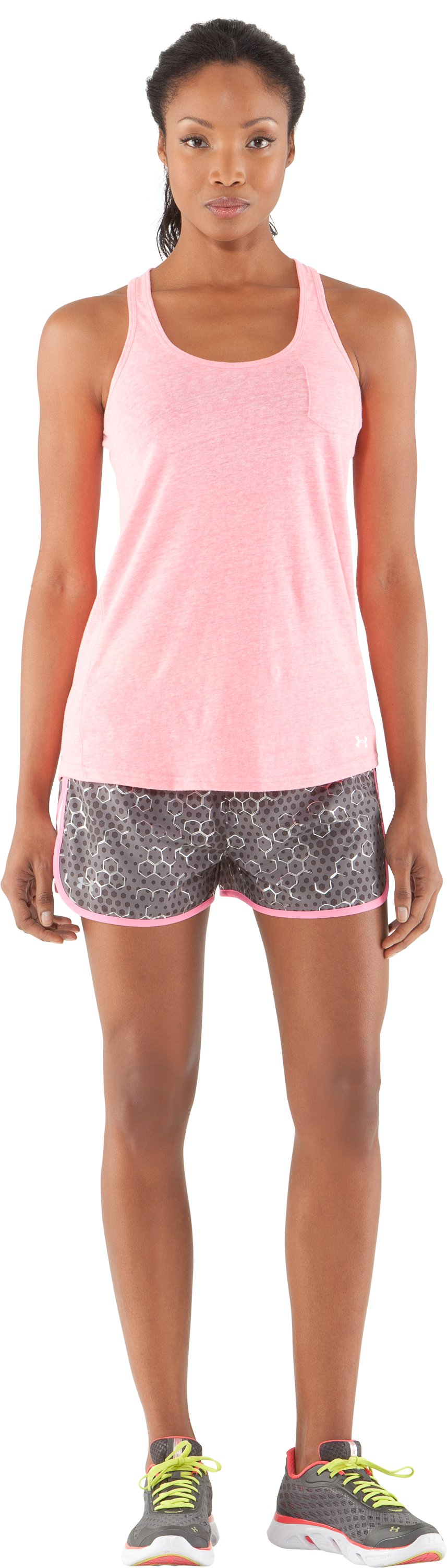 "Women's UA Escape Printed 3"" Shorts, Graphite, Front"