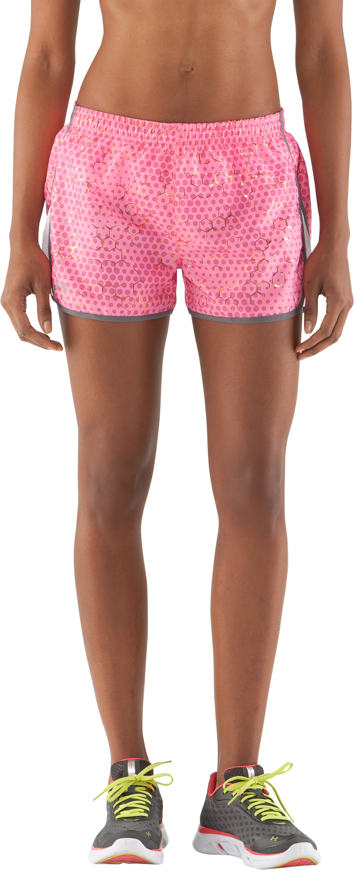 "Women's UA Escape Printed 3"" Shorts, Fluo Pink, zoomed image"