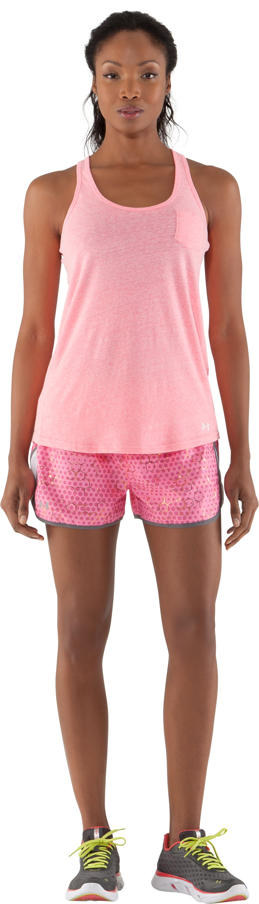 "Women's UA Escape Printed 3"" Shorts, Fluo Pink, Front"